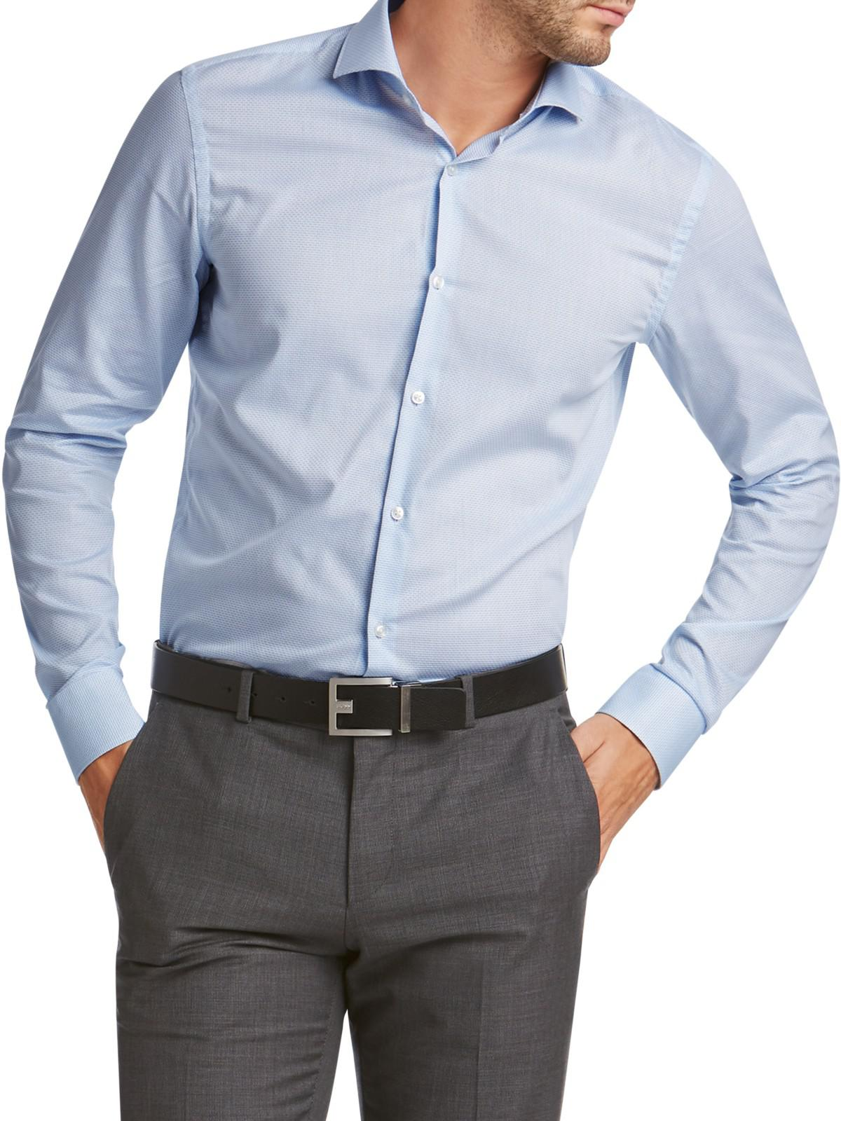 Lyst boss hugo by c jason textured cotton slim fit shirt for Hugo boss jason shirt