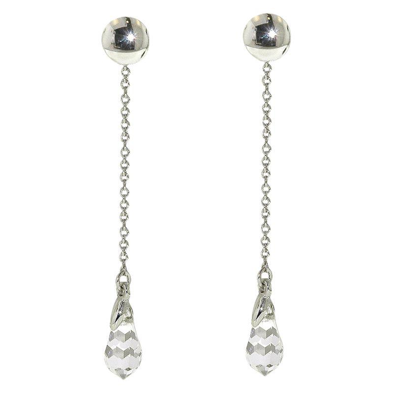 f49eb5c63 Finesse Swarovski Crystal Chain Drop Clip On Earrings Silver - Best ...