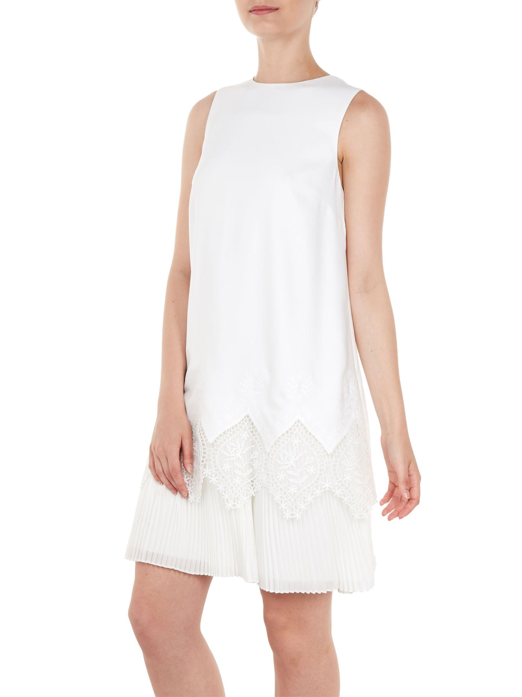 ceb3abc354db9 Ted Baker Nadeen Lace Hem Dress in White - Lyst