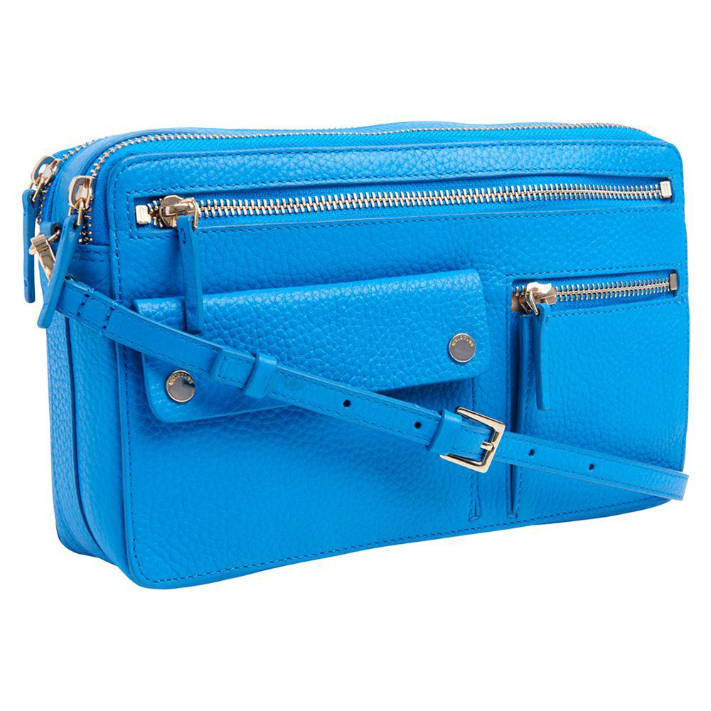 34cb50f4a8 Whistles Albion Leather Zip Pocket Bag in Blue - Lyst