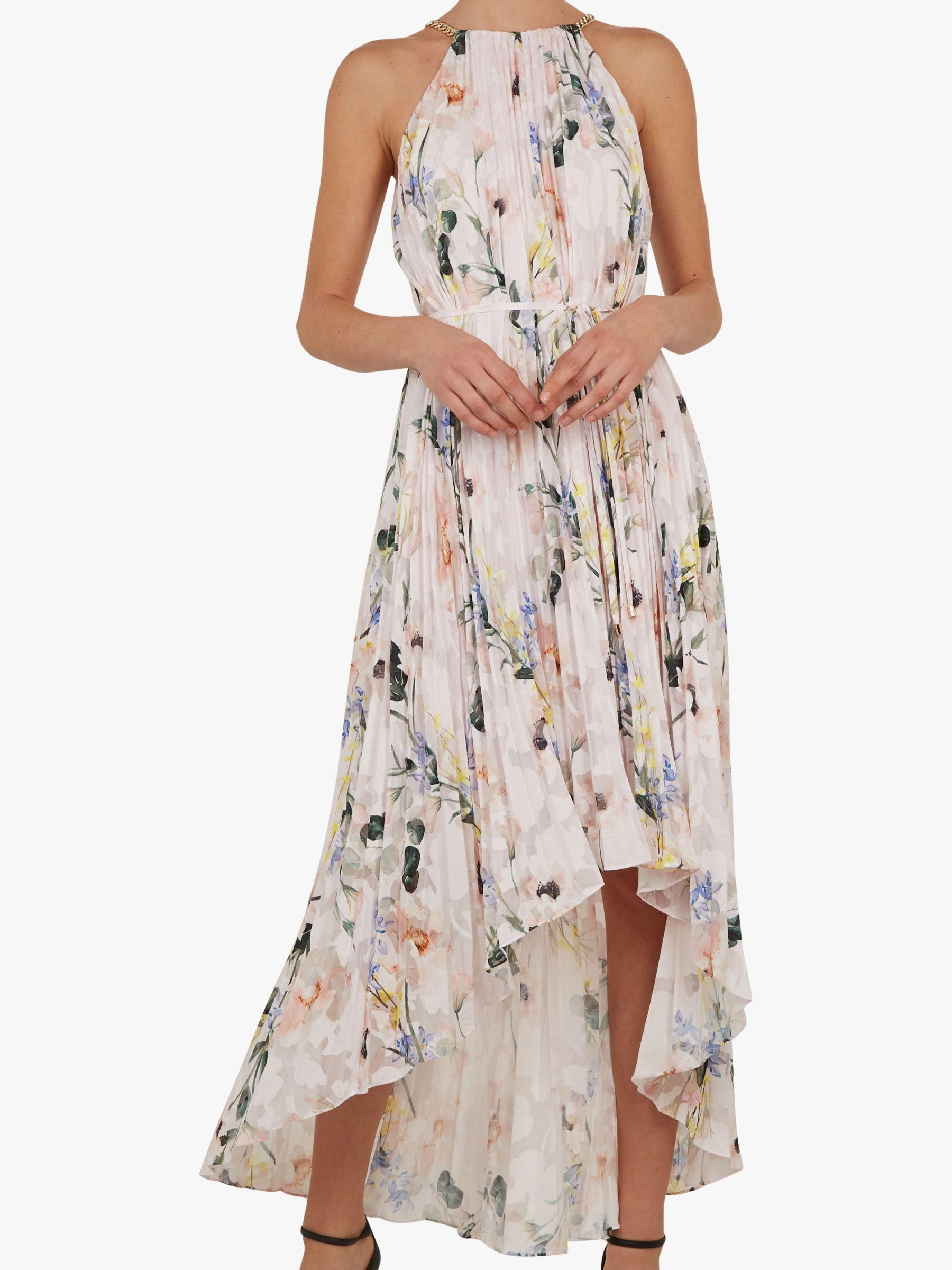 adfe1505a8c8 Ted Baker Valetia Dip Hem Floral Pleated Dress in White - Lyst