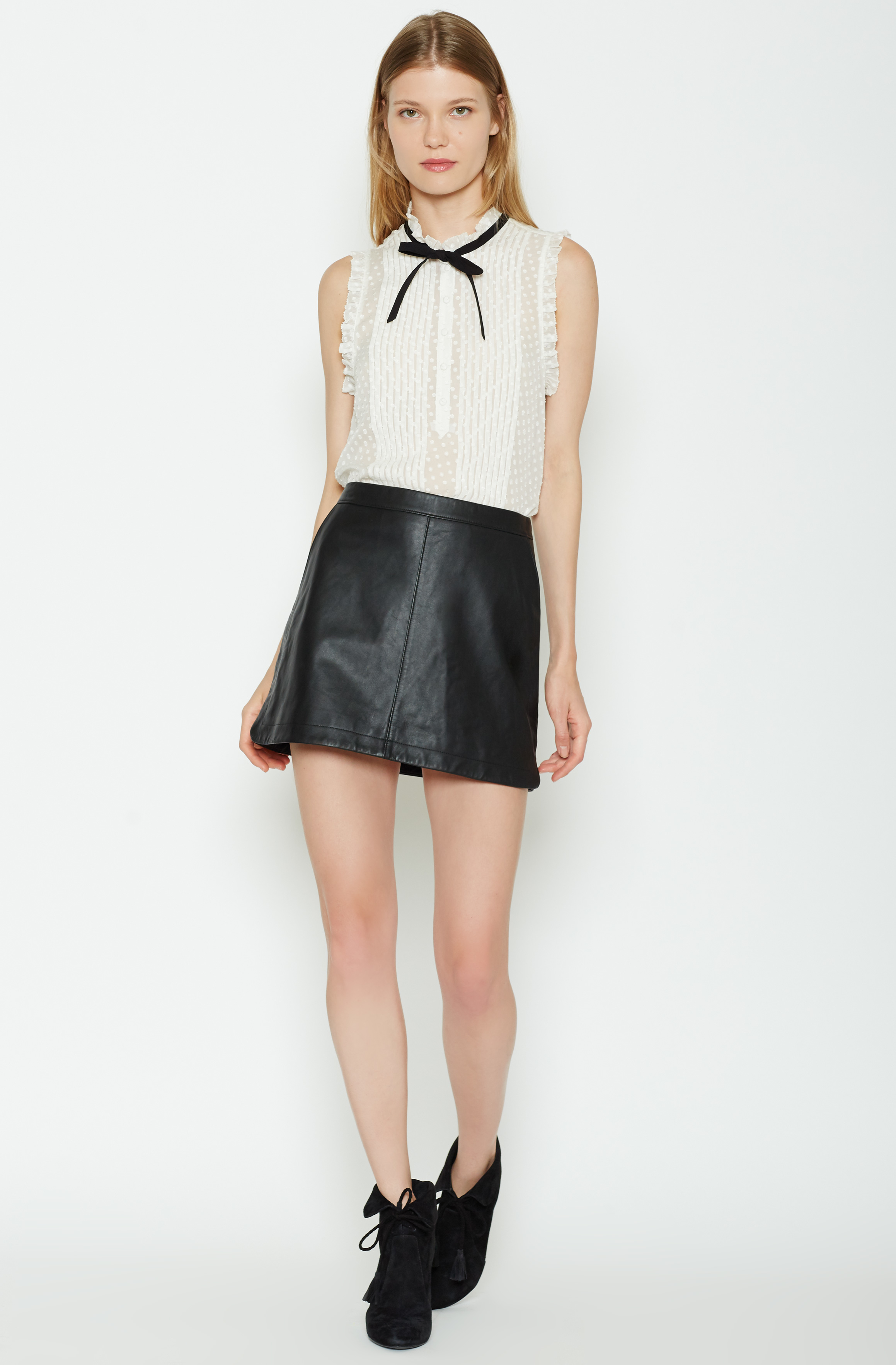 joie mayfair leather skirt in black lyst