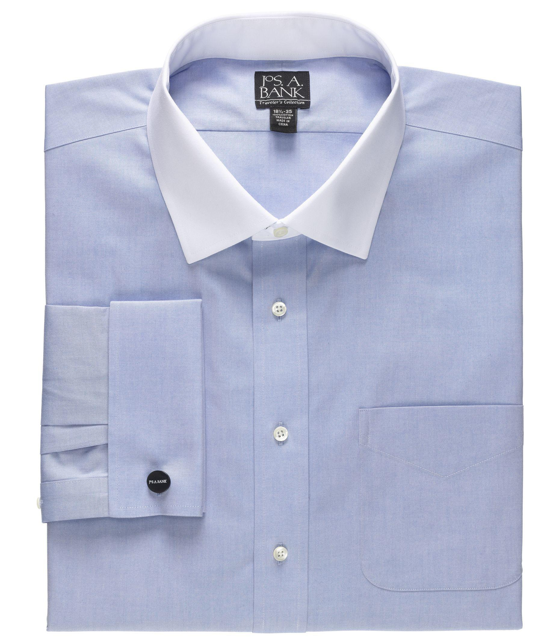 Lyst jos a bank traveler collection tailored fit for Mens dress shirts with contrasting collars and cuffs
