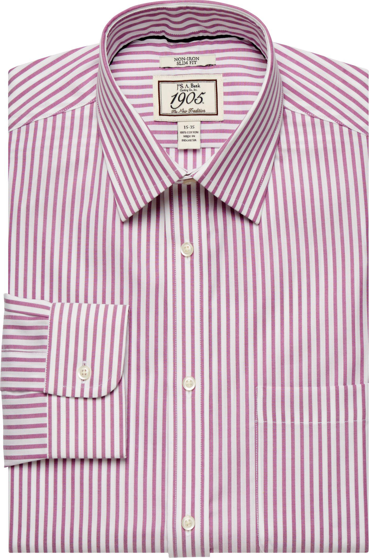 Jos a bank 1905 collection slim fit spread collar stripe for Jos a bank slim fit vs tailored fit shirts