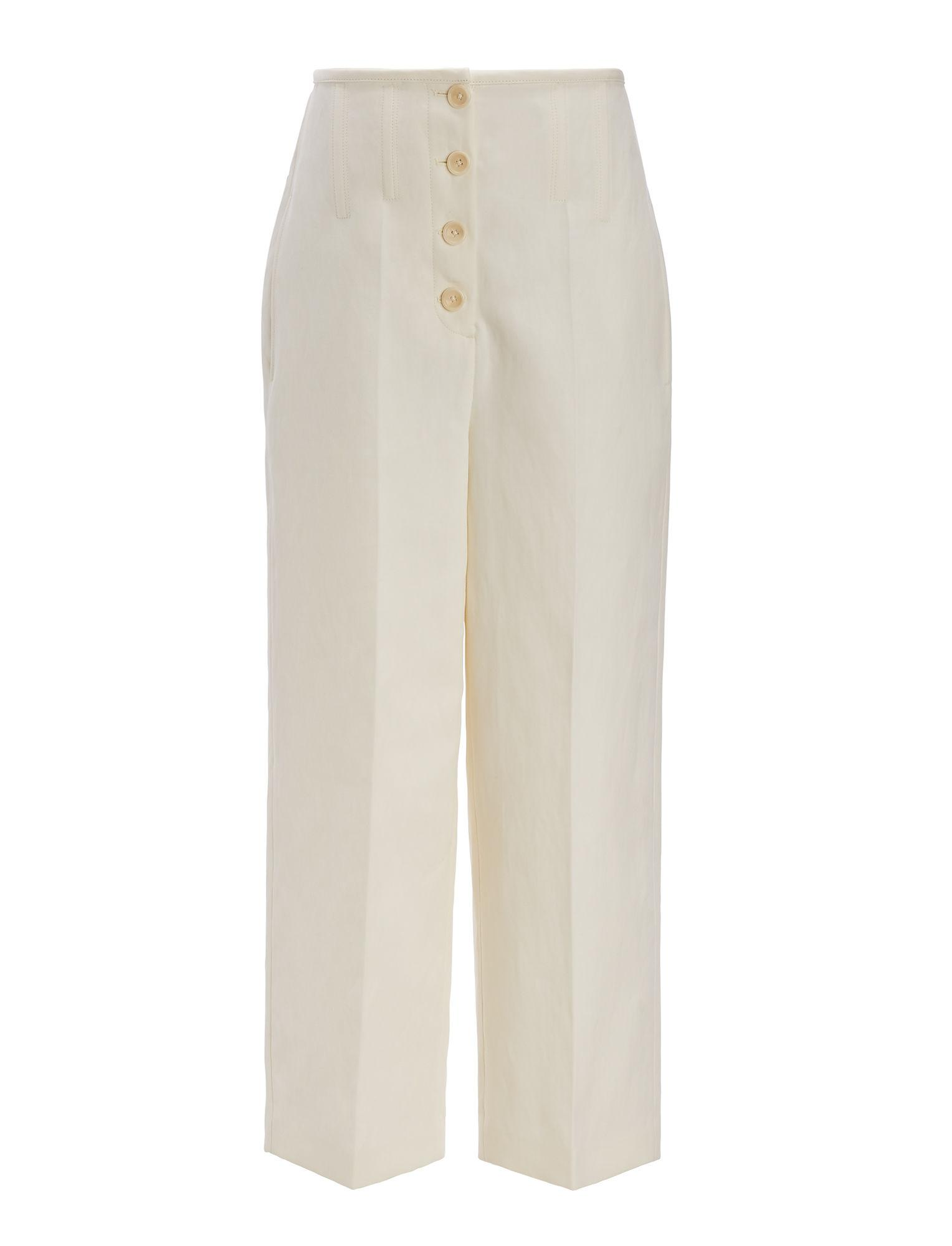 Joseph Femme Mika Ramie Et Cottton-culottes Mélange Blanc Cassé Taille 40 Joseph Aj2ijsdN