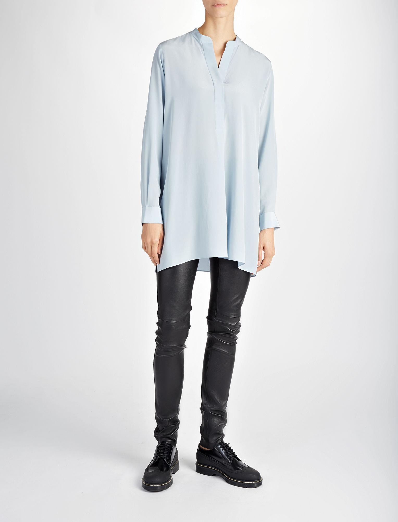 lyst joseph crepe de chine lara blouse in blue. Black Bedroom Furniture Sets. Home Design Ideas