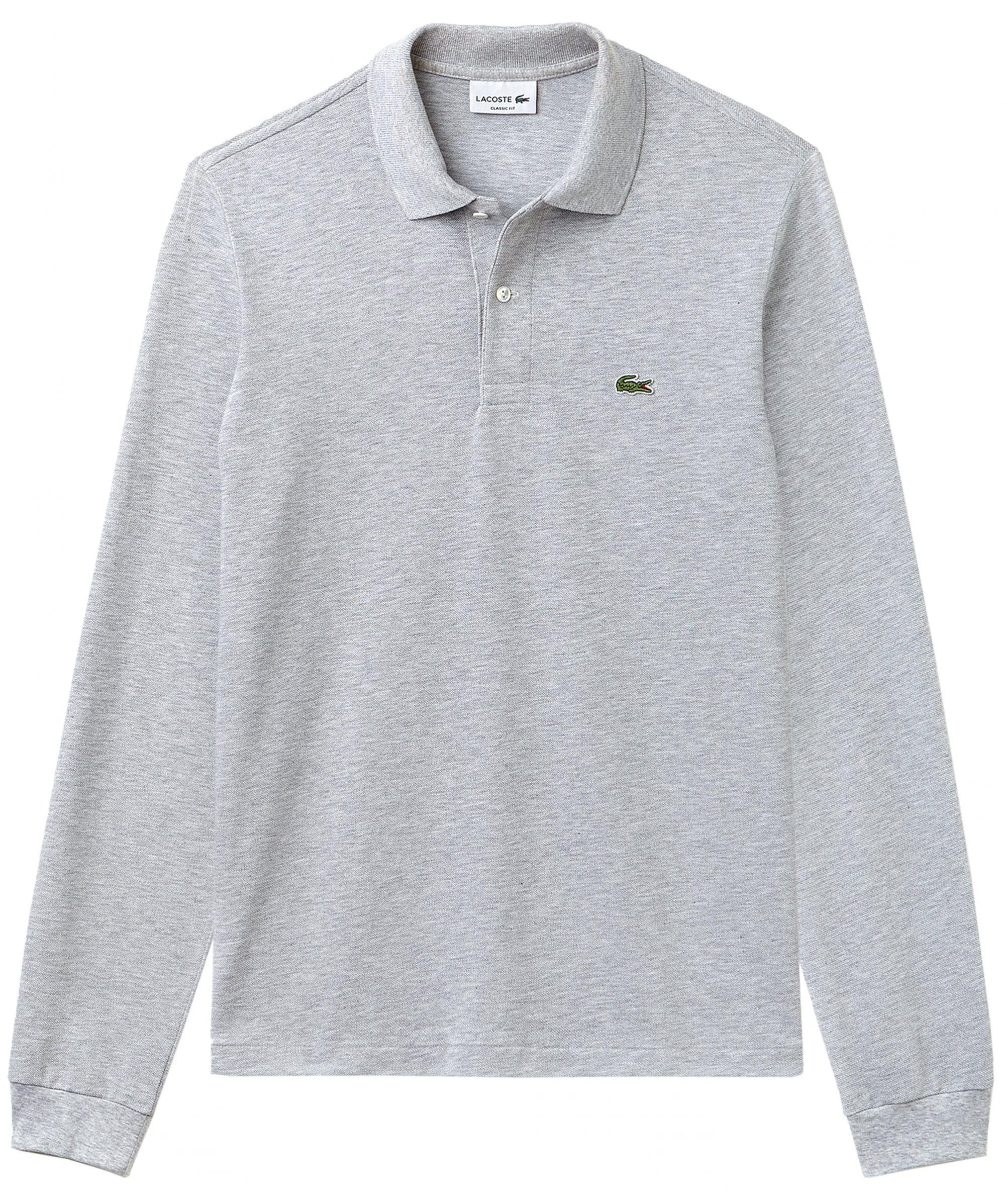 e293850138368 Lyst - Lacoste Classic Fit Long Sleeve Polo Shirt in Metallic for Men