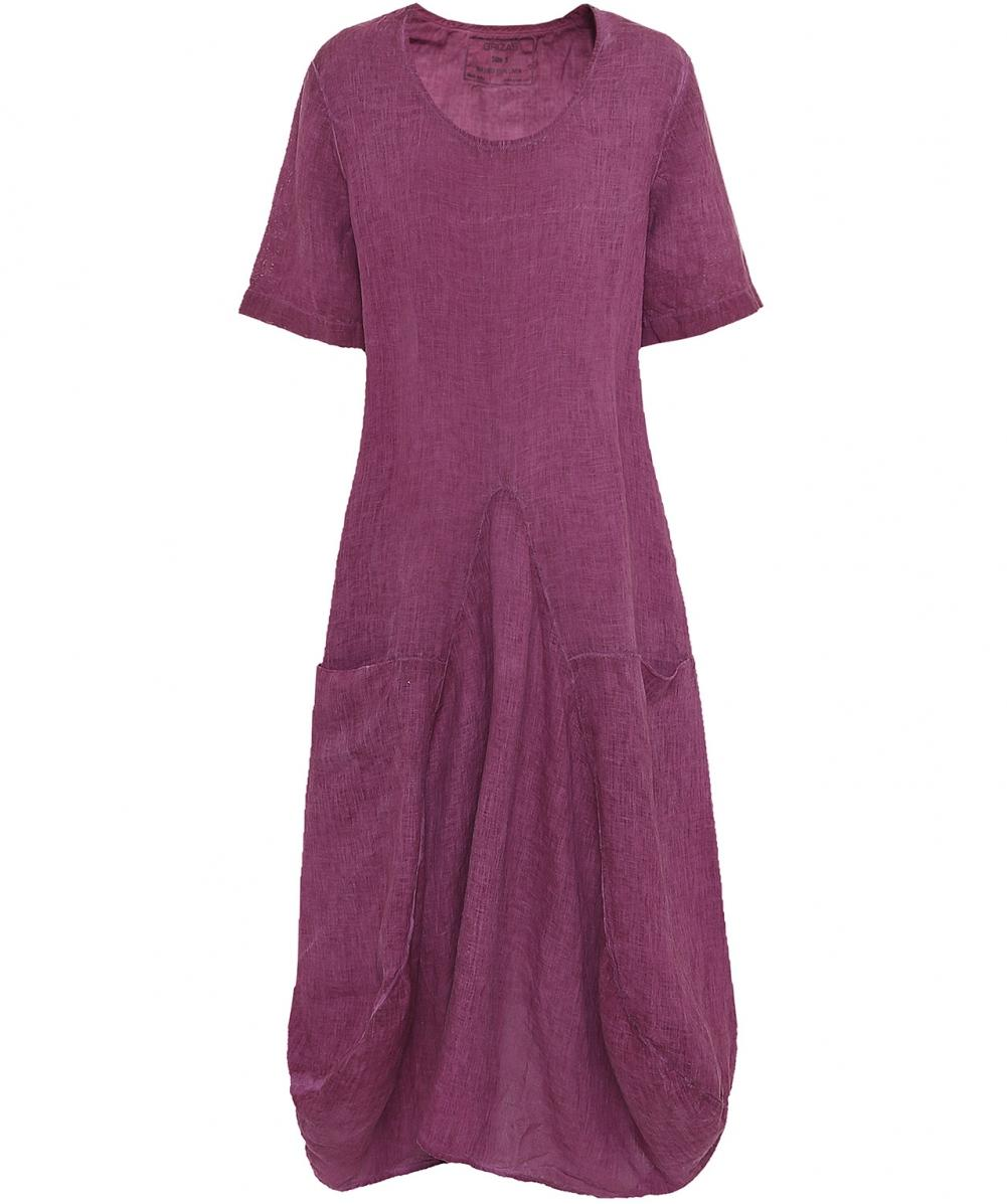 2c689664be8 Grizas Short Sleeved Linen Balloon Dress in Pink - Lyst