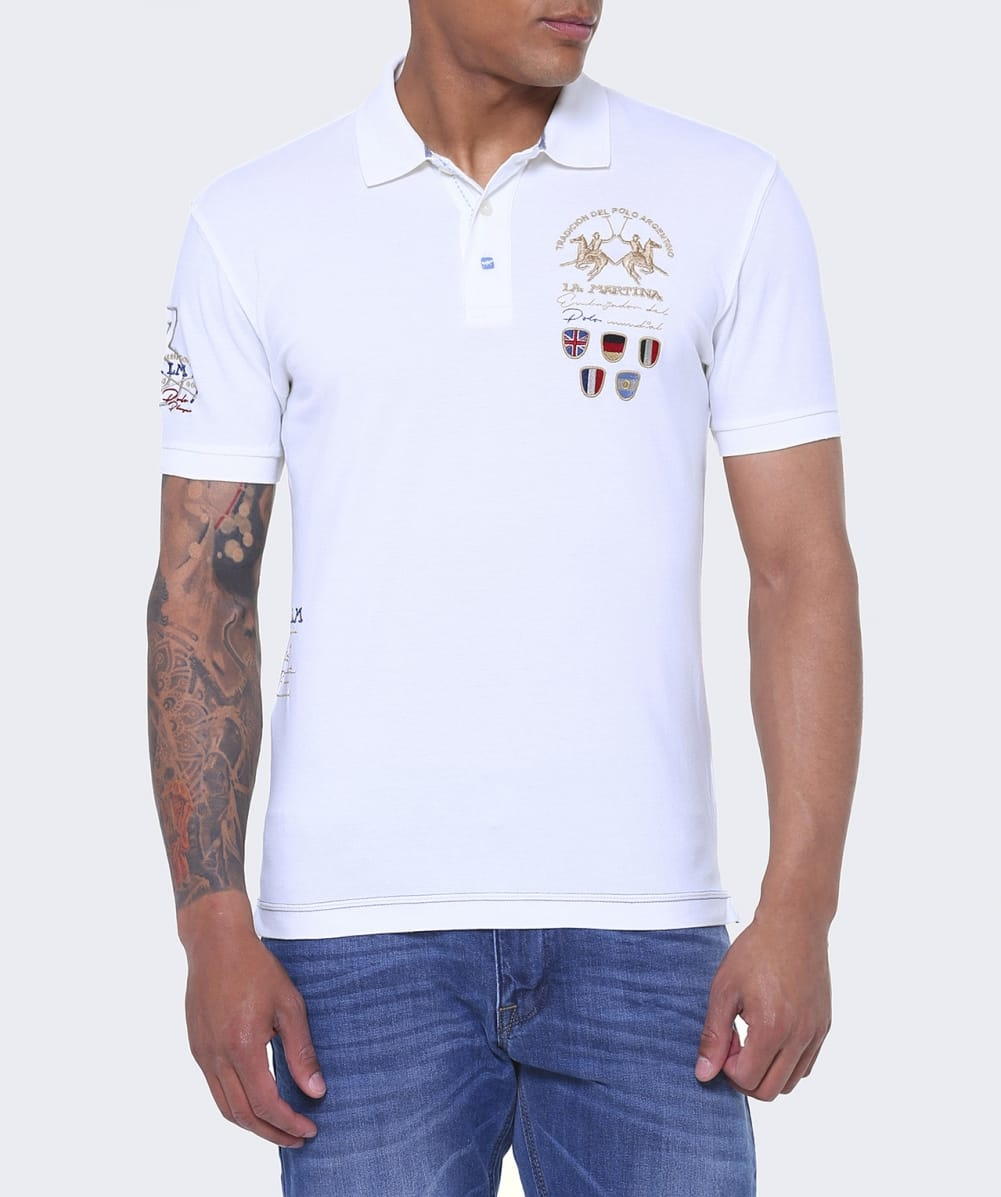 Lyst la martina slim fit paez polo shirt in white for men for White fitted polo shirts