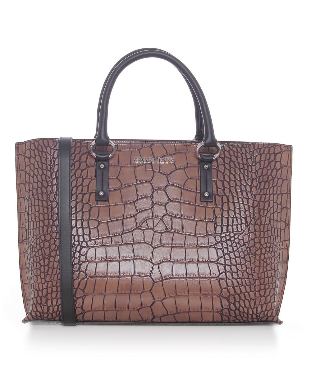 armani jeans crocodile effect shopper bag in brown lyst. Black Bedroom Furniture Sets. Home Design Ideas