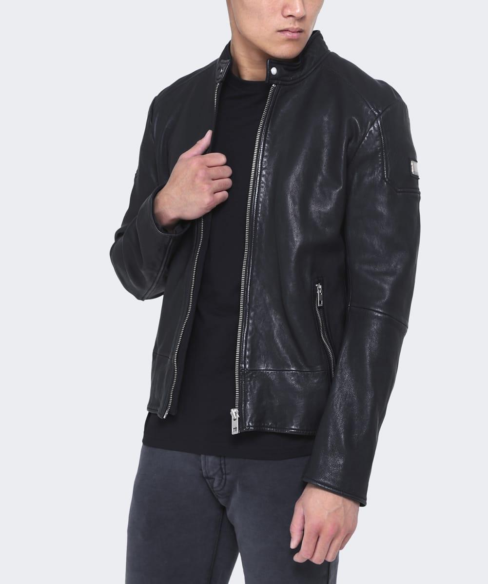 boss orange leather jofynn jacket in black for men lyst. Black Bedroom Furniture Sets. Home Design Ideas