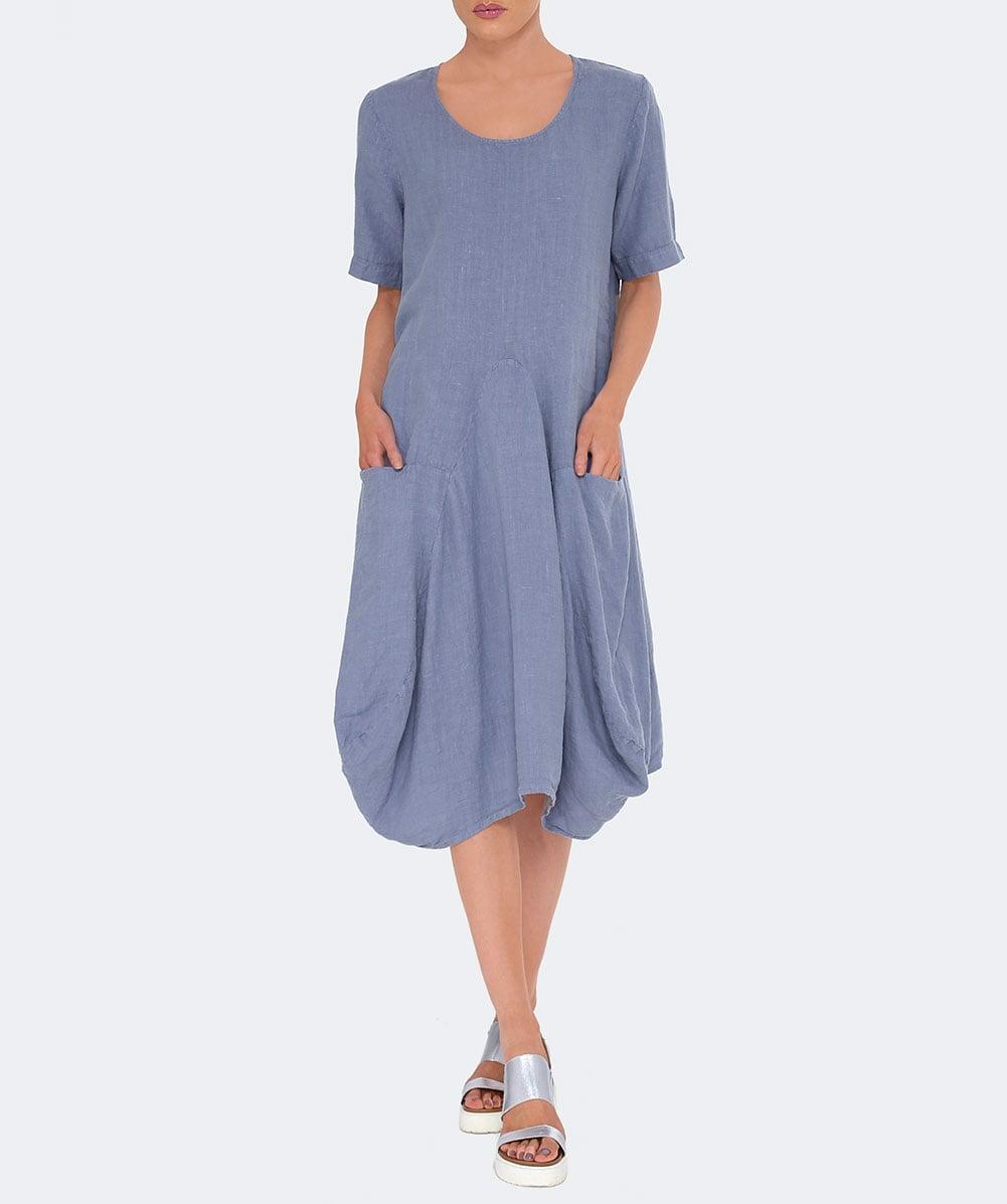 aeb3008fa23 Lyst - Grizas Short Sleeved Linen Balloon Dress in Blue