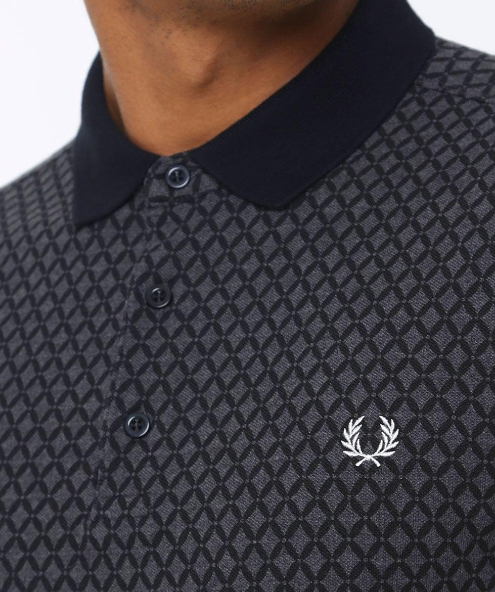 06592411d Fred Perry Graphic Print Polo Shirt in Gray for Men - Lyst