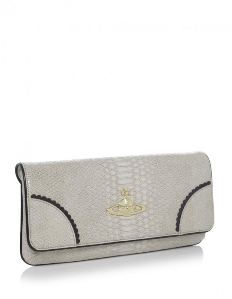 2cb4e07433 Vivienne Westwood Frilly Snake Clutch Bag in Gray - Lyst