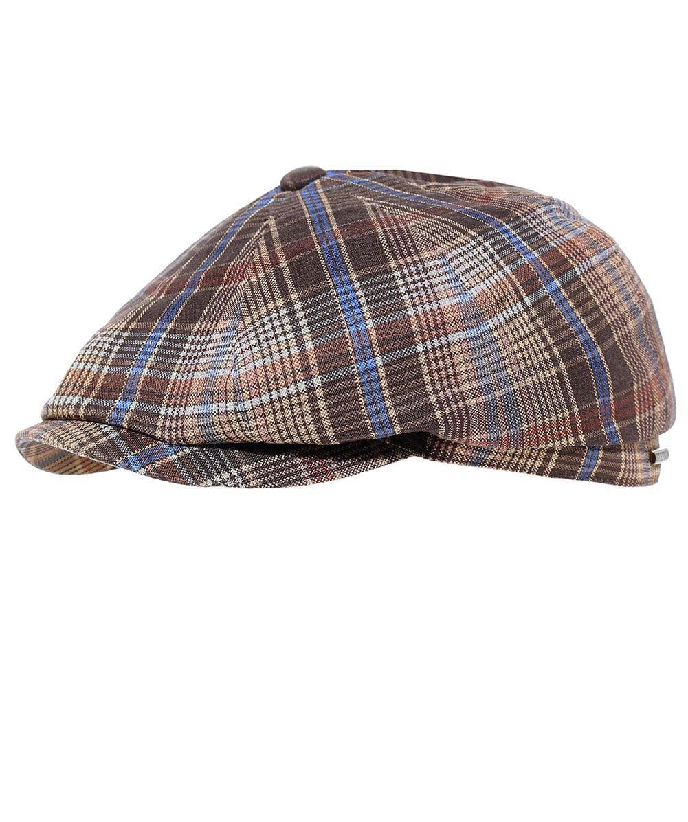 Stetson Linen Check Hatteras Newsboy Cap in Brown for Men - Lyst d6a82063b3a5