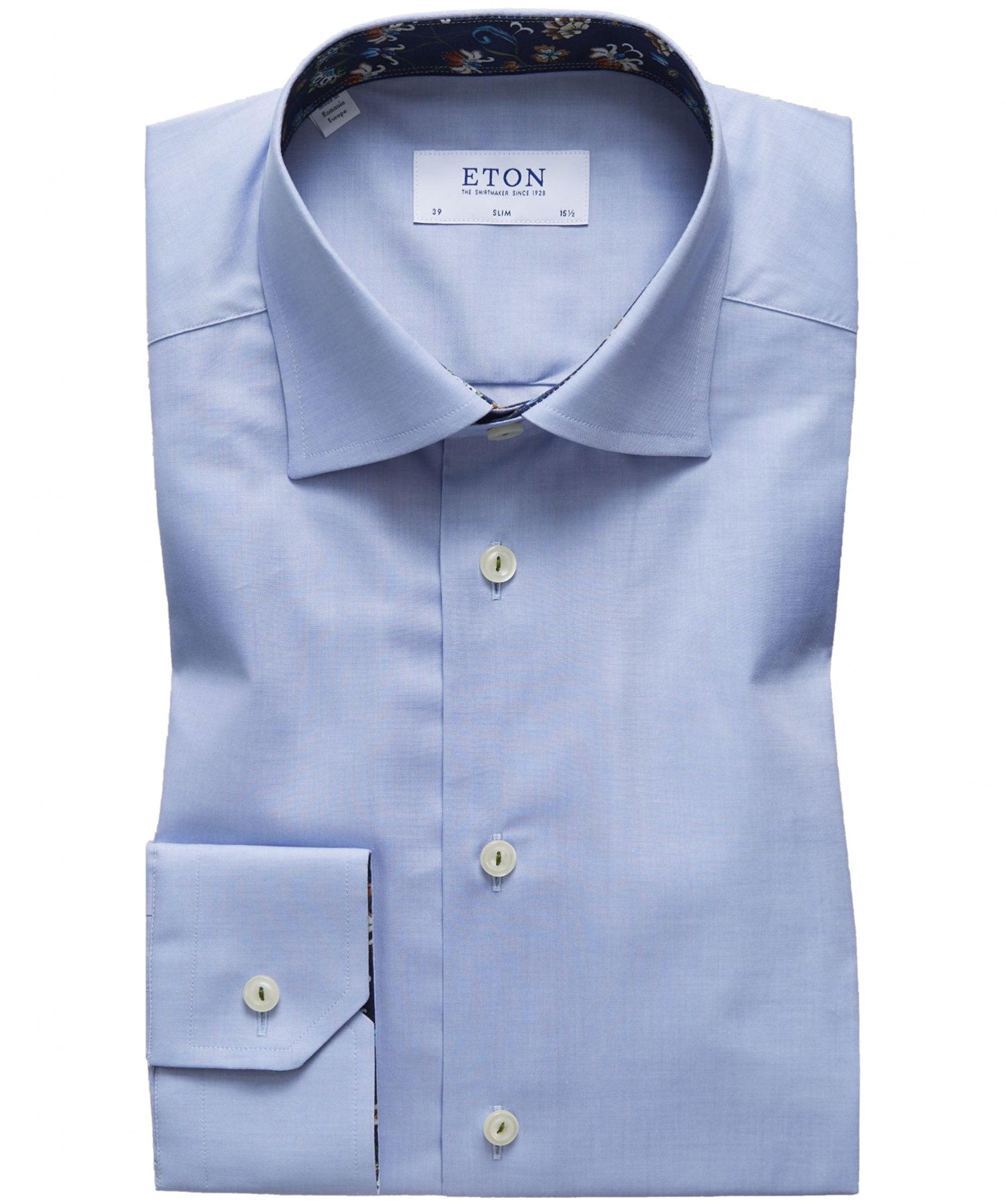 a040953fca5 Lyst - Eton of Sweden Slim Fit Floral Trim Shirt in Blue for Men ...