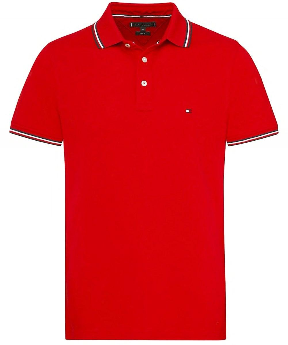 e2750143 Tommy Hilfiger 's Tommy Tipped Slim Polo Shirt Dark Blue in Red for Men -  Save 19% - Lyst