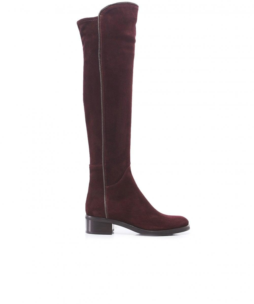 f4f8d91b5aa Lyst - Le Pepe Suede Knee High Boots in Red