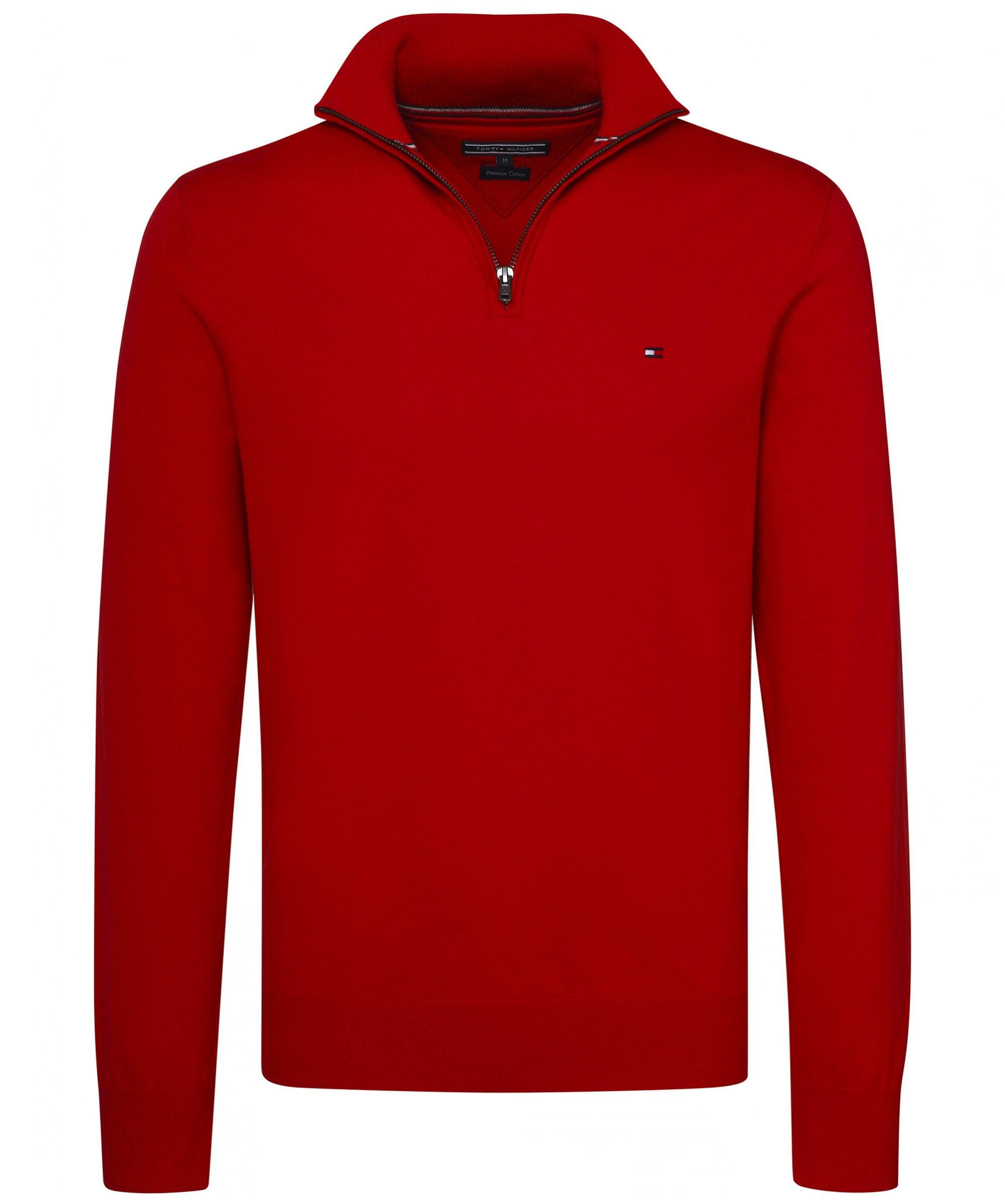 d0f6714765d9 Lyst - Tommy Hilfiger Cotton Half-zip Jumper in Red for Men