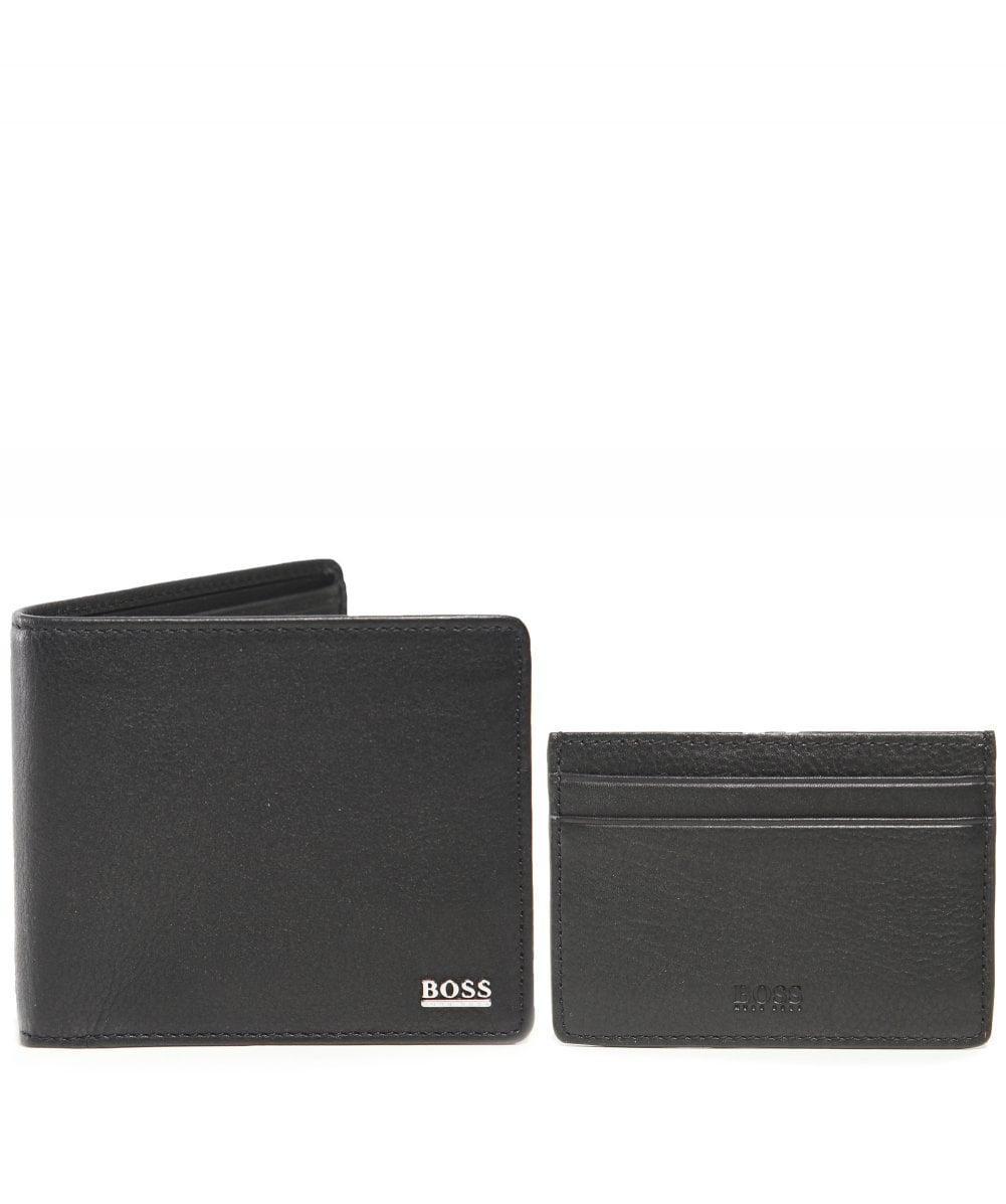 51bd88870cb BOSS - Black Leather Billfold Wallet And Card Holder Gift Set for Men - Lyst.  View fullscreen