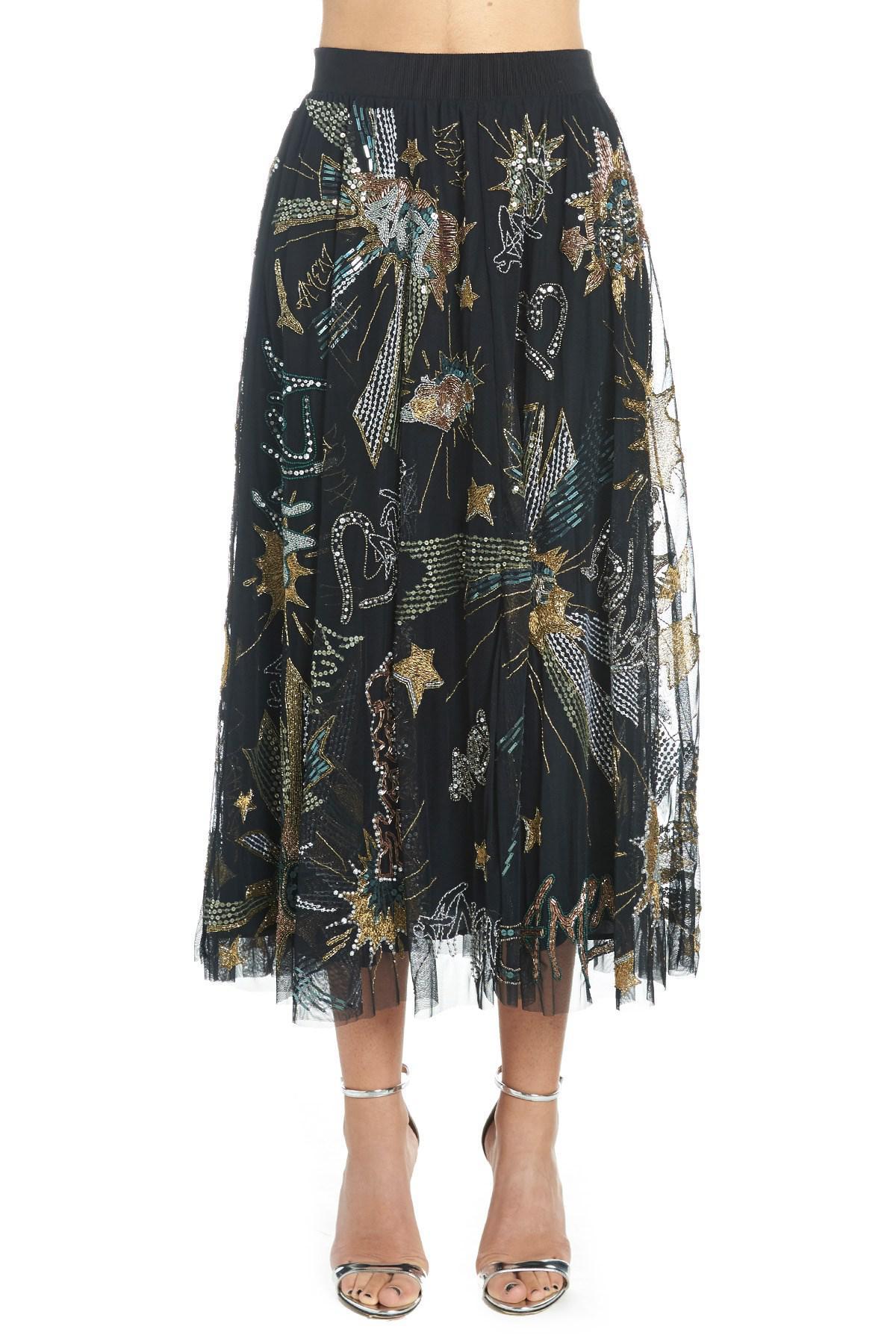 efd202424 Amen - Black Embellished Flared Skirt - Lyst. View fullscreen