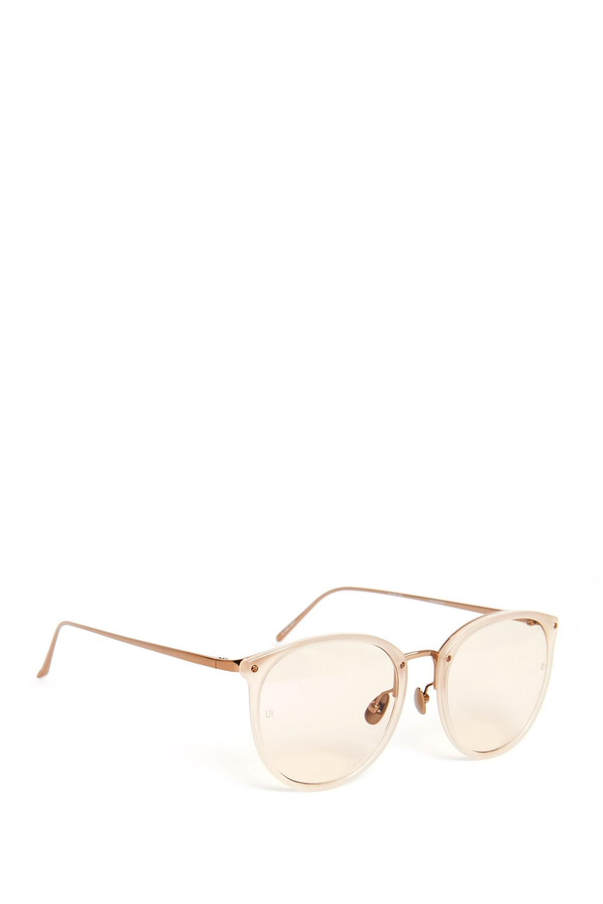 9a5f4d3a173 Lyst - Linda Farrow Rose Gold Oval Optical Frame Sunglasses in Metallic