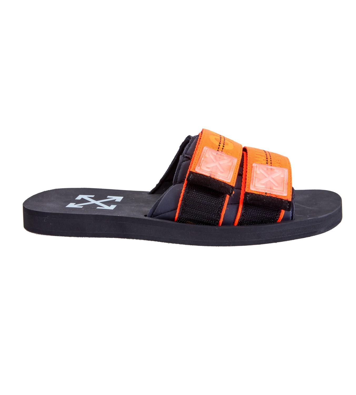 lyst off white c o virgil abloh orange industrial slides in orange