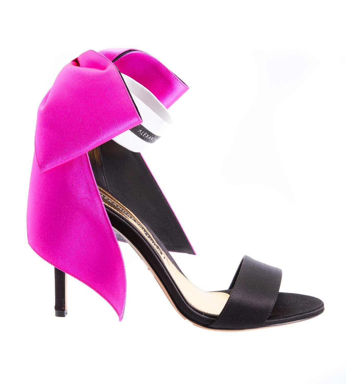 0b5cd6f532c Lyst - Alexandre Vauthier Bow Pink Open Toe Ankle Strap Heel in Pink