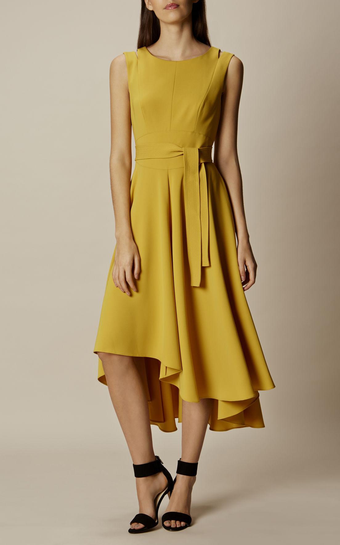 Karen Millen Asymmetrical Midi Dress Yellow In Yellow Lyst