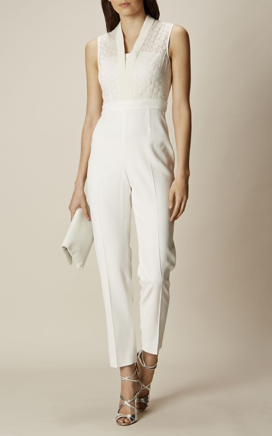 aa0748c1077 Lyst - Karen Millen Tailoring And Lace Jumpsuit - Ivory in White
