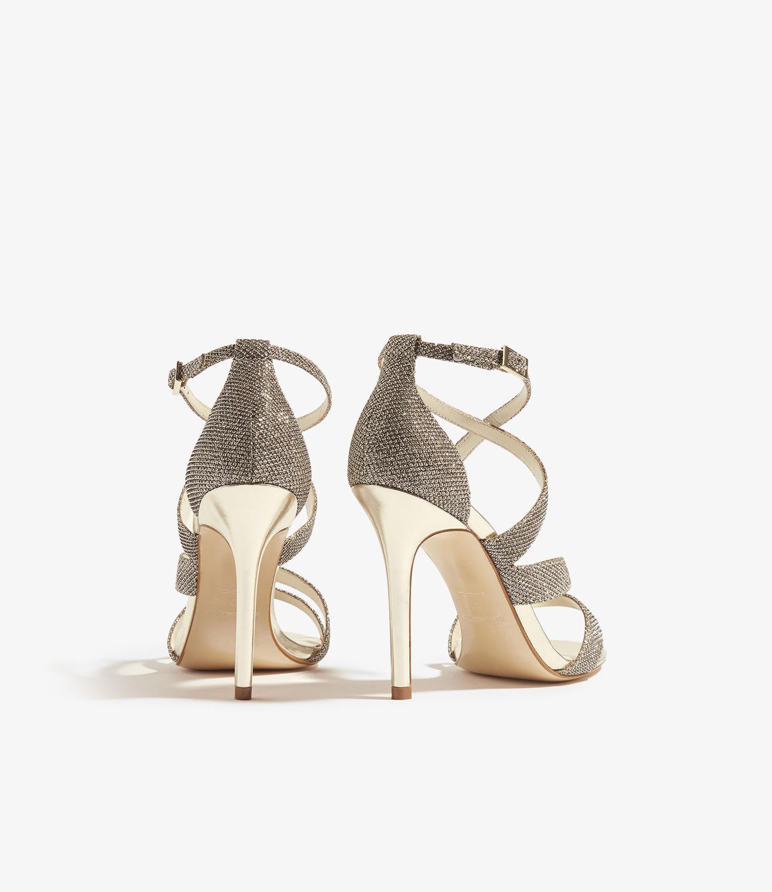 1d1a99c793a Karen Millen - Metallic Glitter Fabric Sandal - Gold - Lyst. View fullscreen