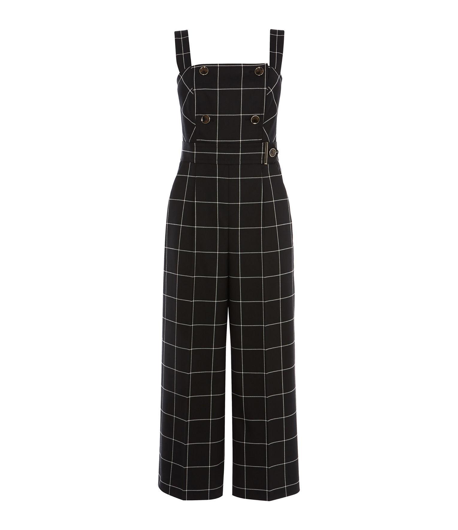 7834fb3b78e Karen Millen Check Culotte Jumpsuit in Black - Lyst