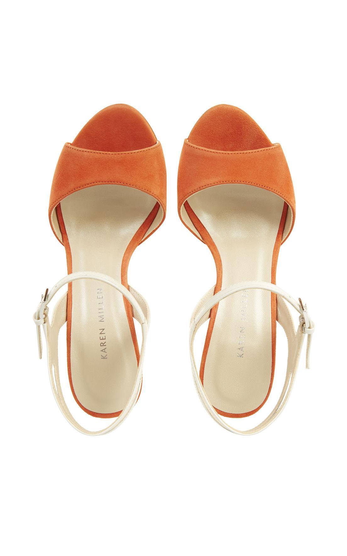 9e7d5a8735e Karen Millen Suede Colour-block Heel Sandal - Orange in Orange - Lyst