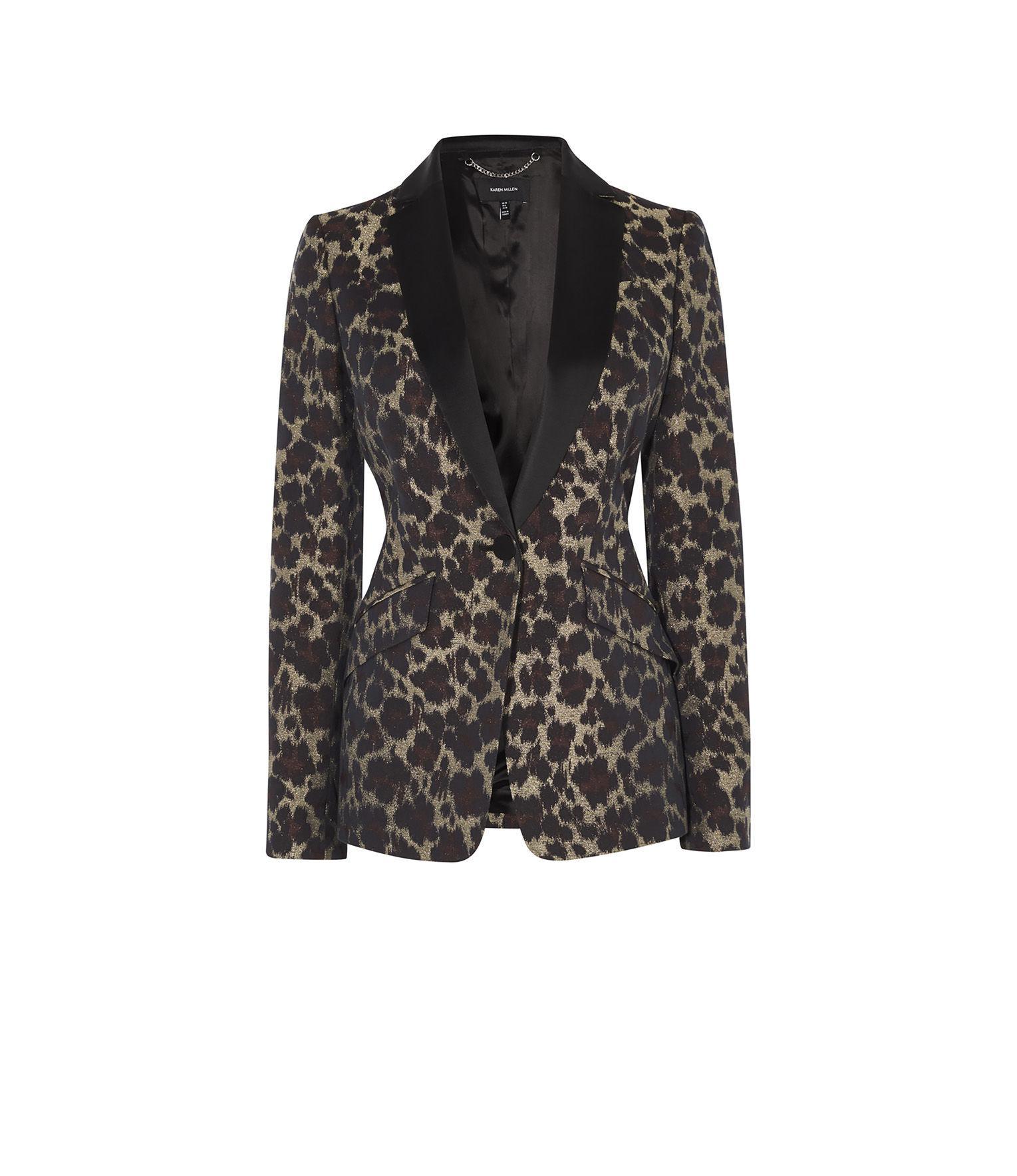 1abebed730 Karen Millen Leopard Jacquard Blazer - Lyst