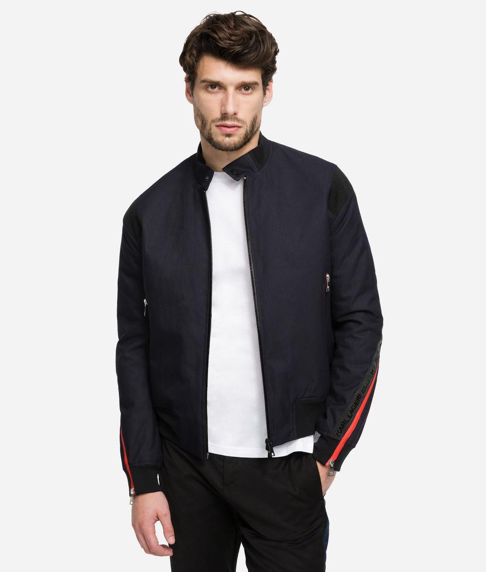 10e66b08e882 Lyst - Karl Lagerfeld Logo Tape Jacket in Blue for Men