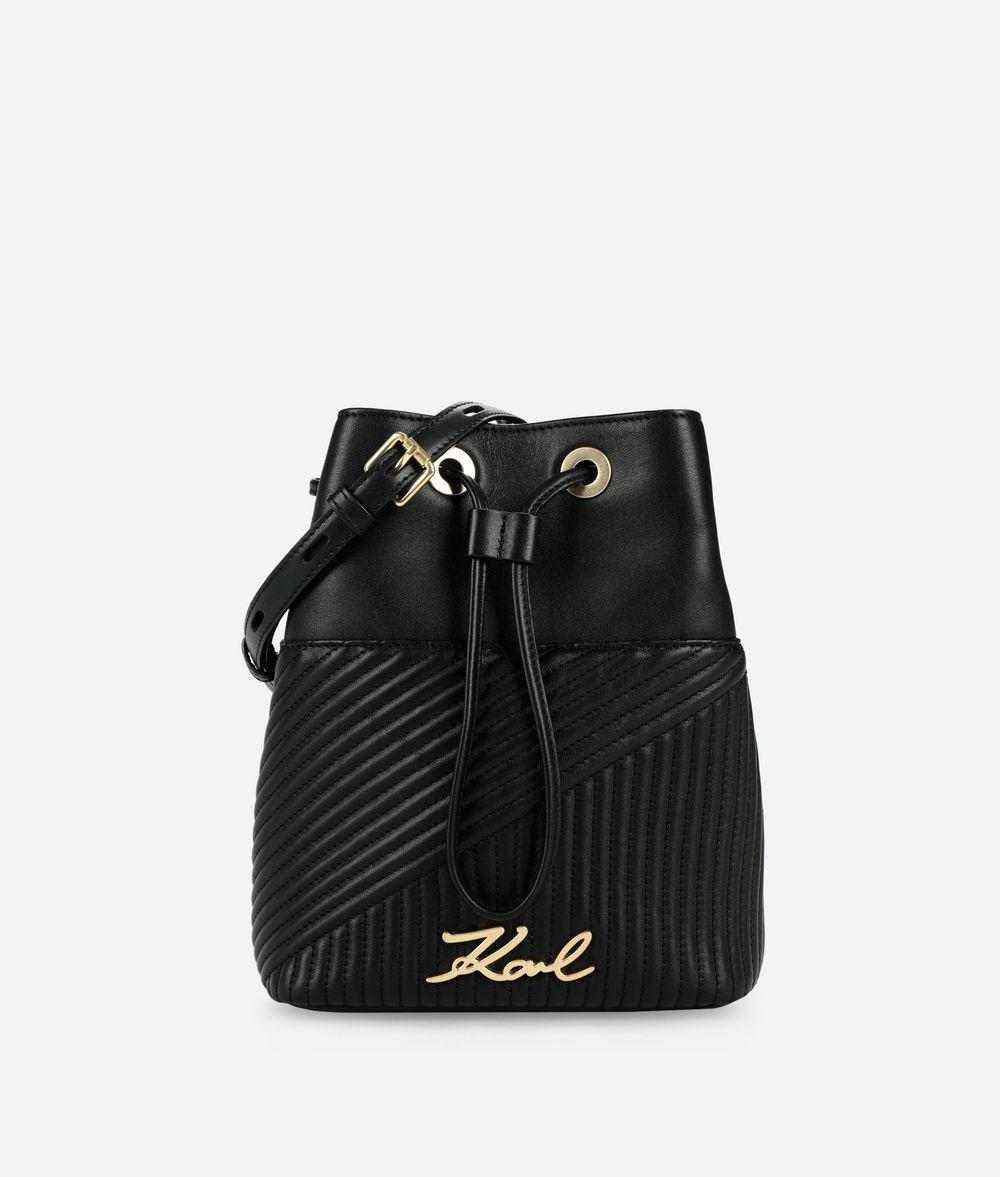 Karl Lagerfeld K signature Quilted Bucket Bag in Black - Lyst fd3d23a608