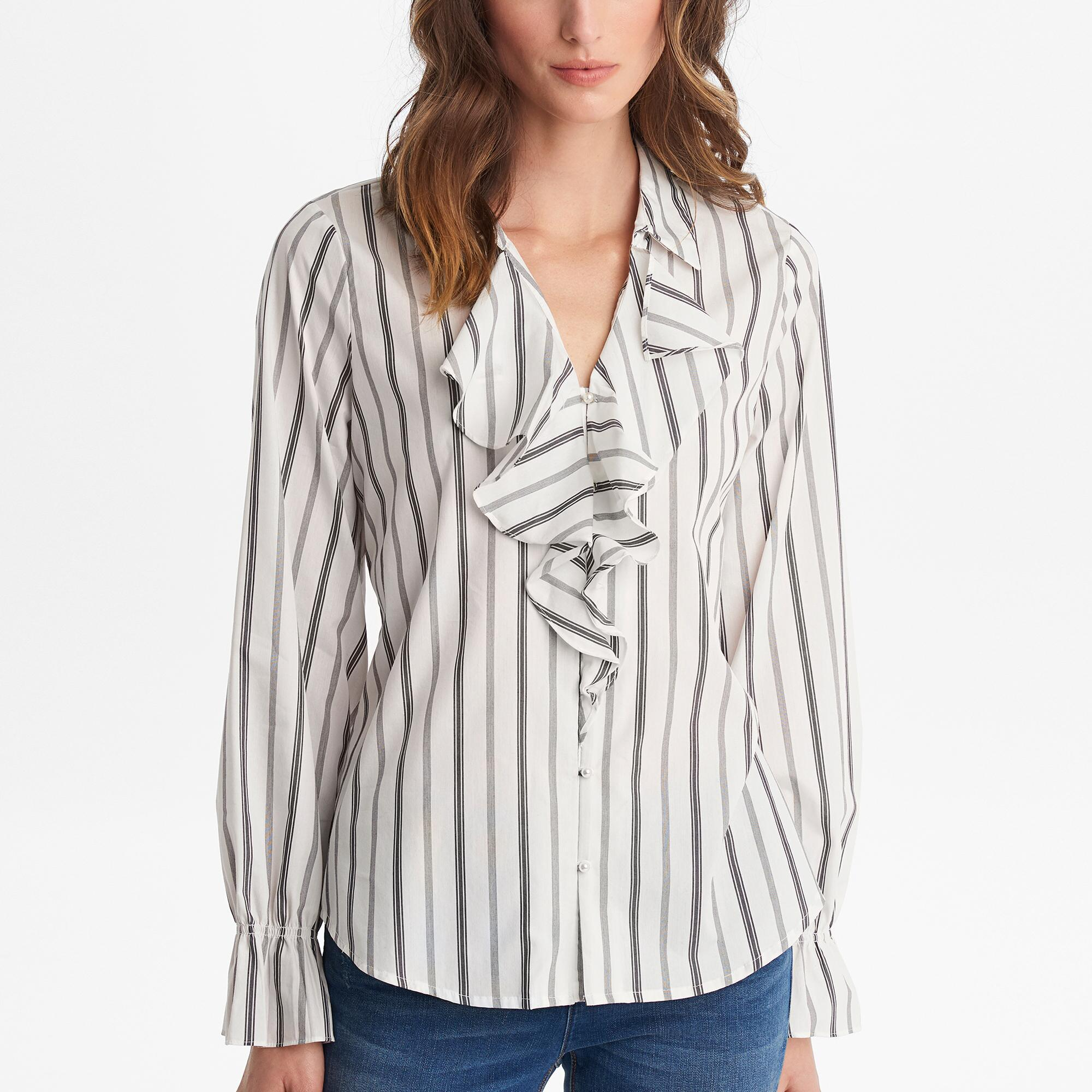 c2b83e6a287102 Karl Lagerfeld - White Striped Ruffle Front Blouse Top - Lyst. View  fullscreen