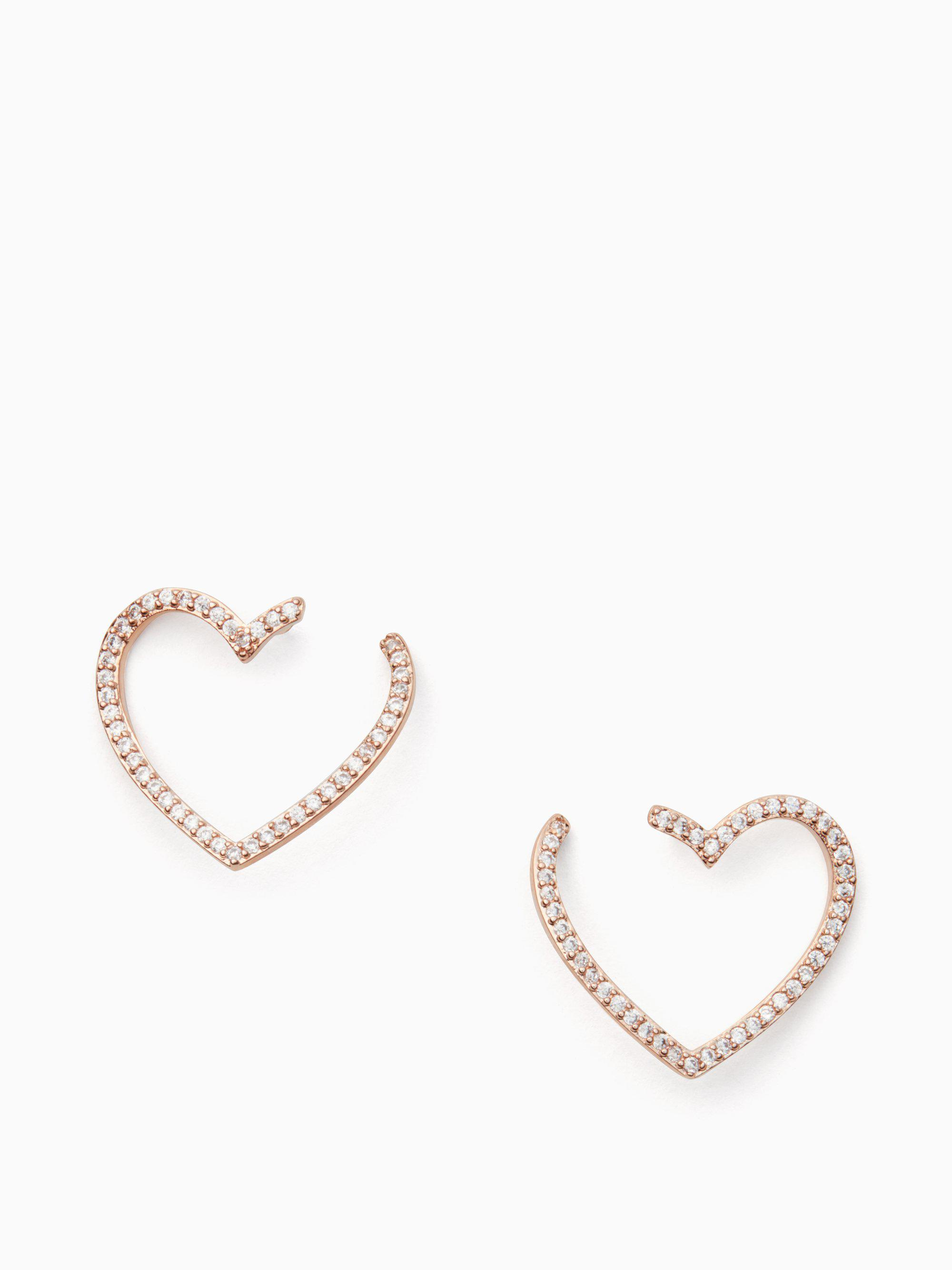 9e4d9591b Kate Spade Yours Truly Pave Heart Bypass Hoops in Metallic - Lyst