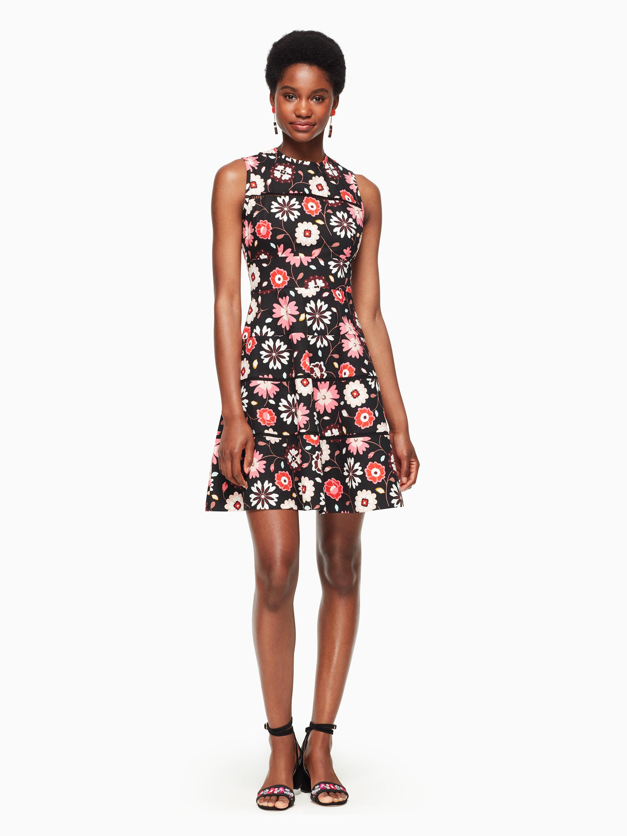 c38c067c0a Lyst - Kate Spade Casa Flora Poplin Dress in Black