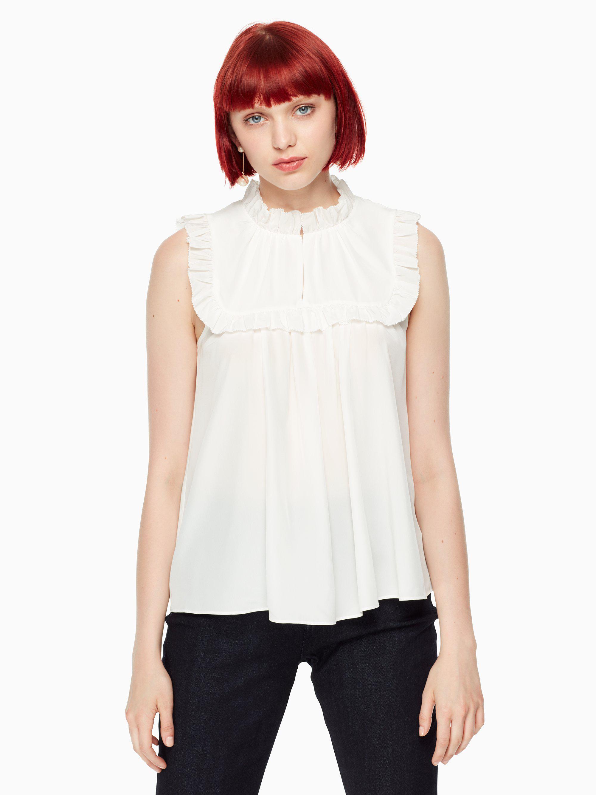 c95159ae68c8e5 Lyst - Kate Spade Ruffle Yoke Silk Top in White