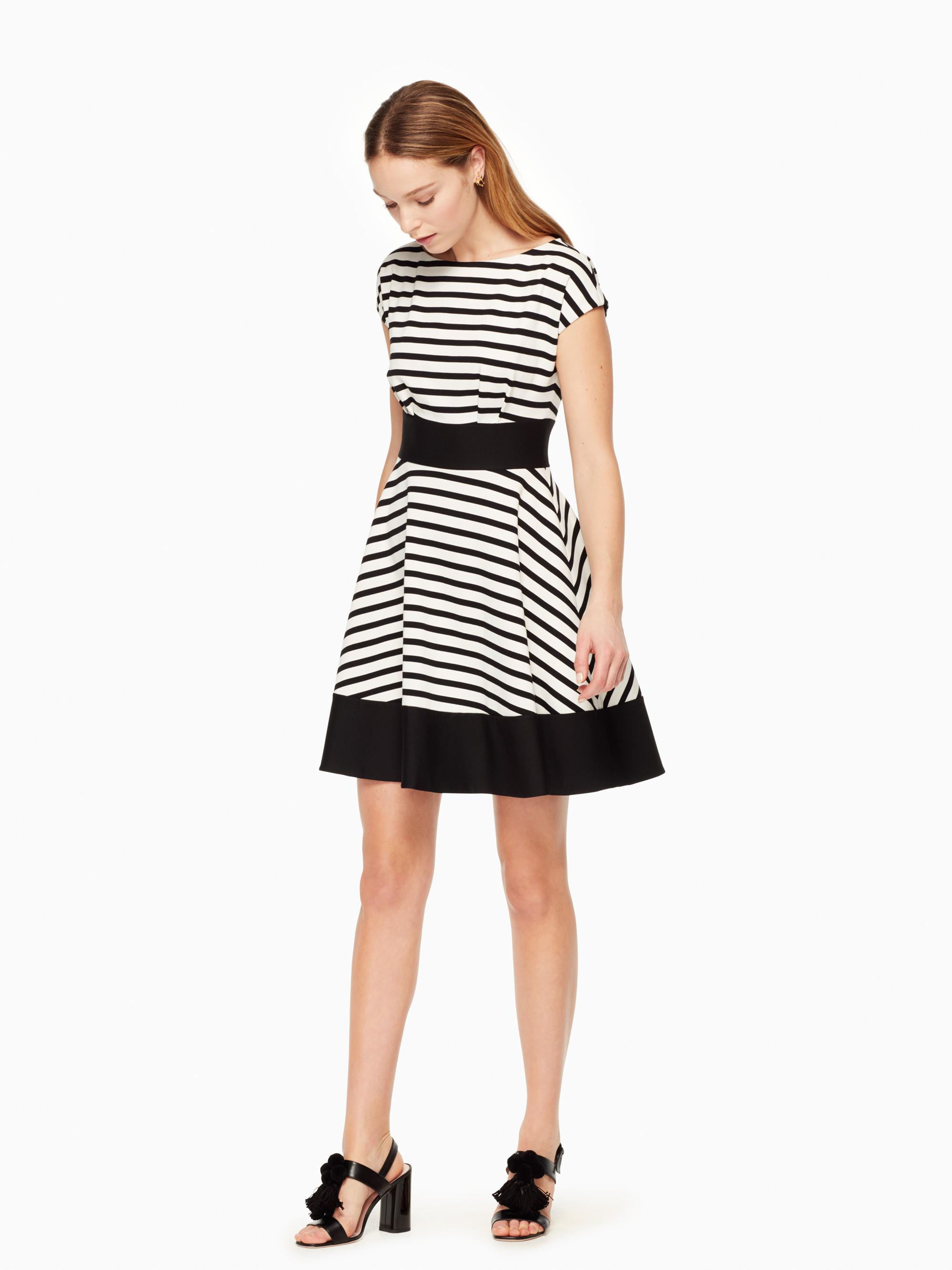 8a3b6eca93eb Kate Spade Ponte Stripe Fiorella Dress in Black - Lyst