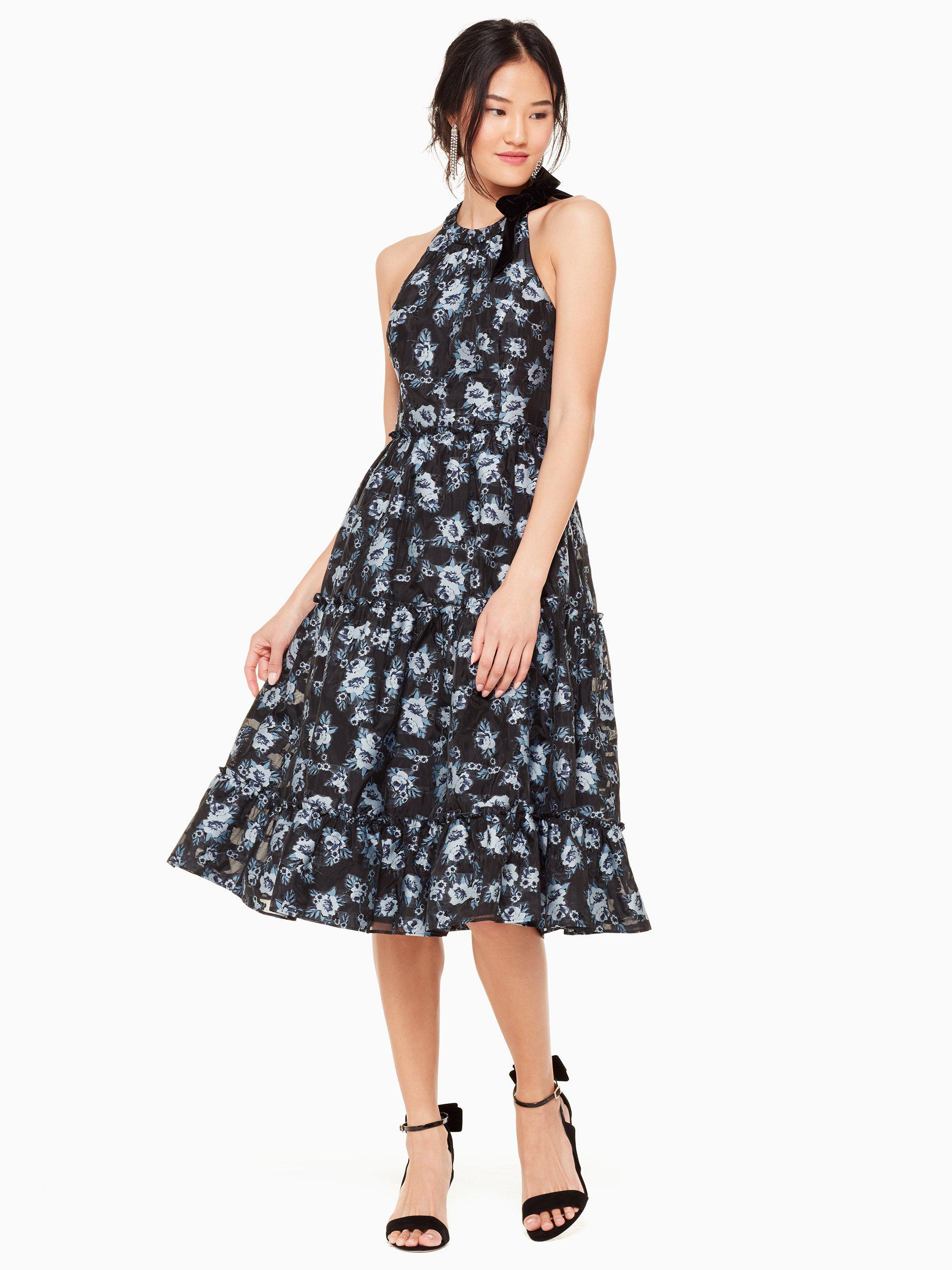6ee827ad45a53 Kate Spade Prairie Rose Velvet Tie Dress in Blue - Lyst