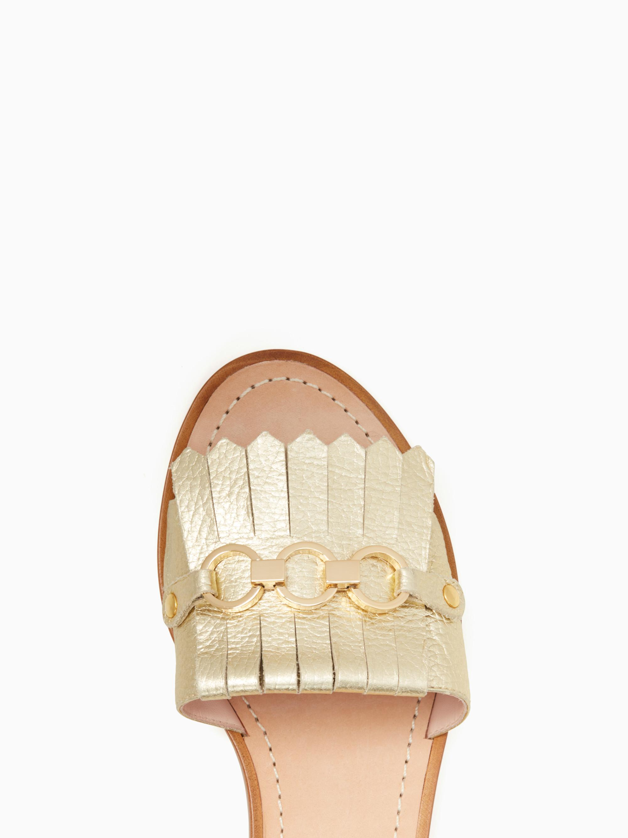 7e362679654e Lyst - Kate Spade Brie Sandals in Metallic