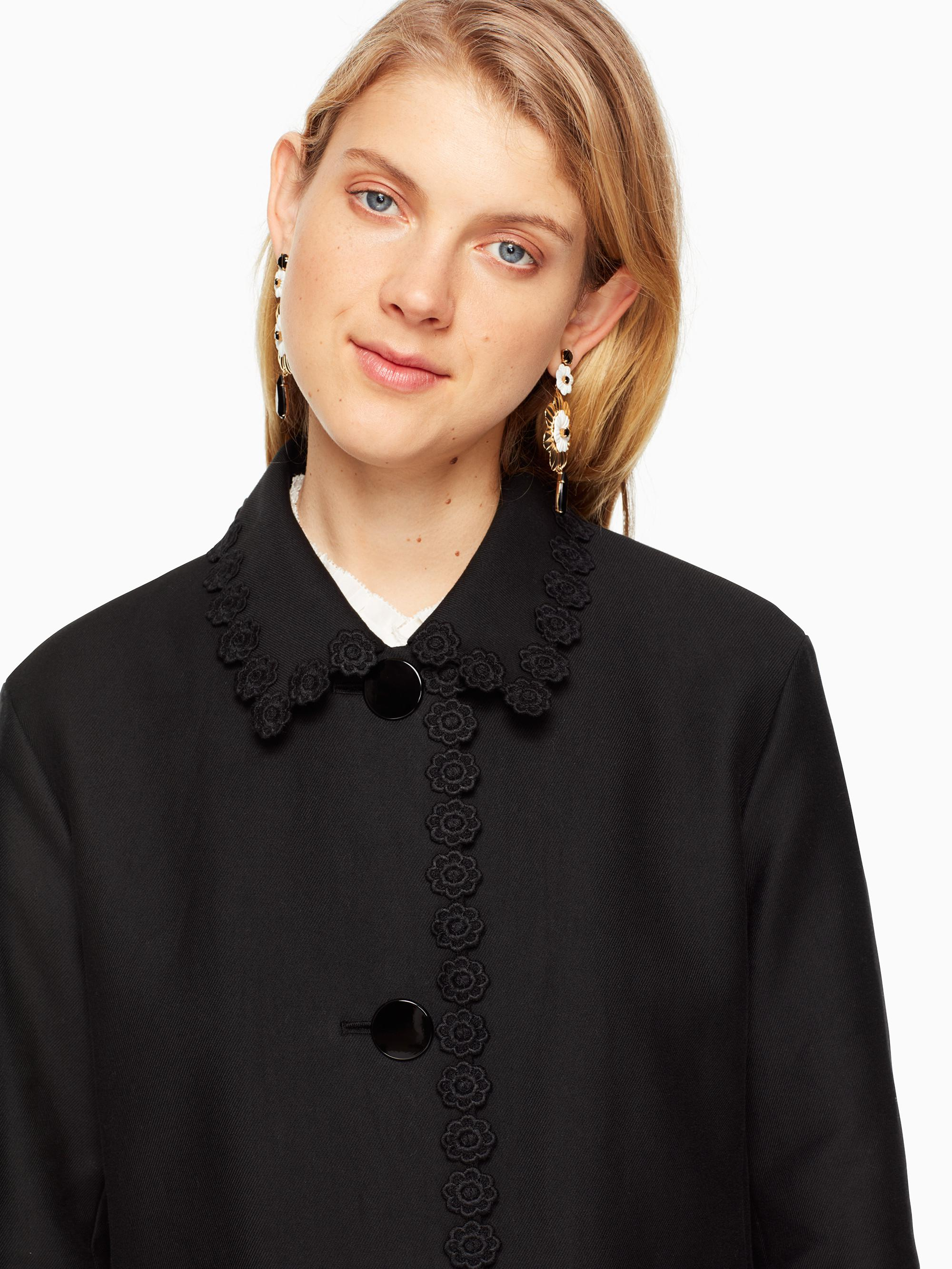 Lyst - Kate Spade Floral Lace Trim Coat in Black