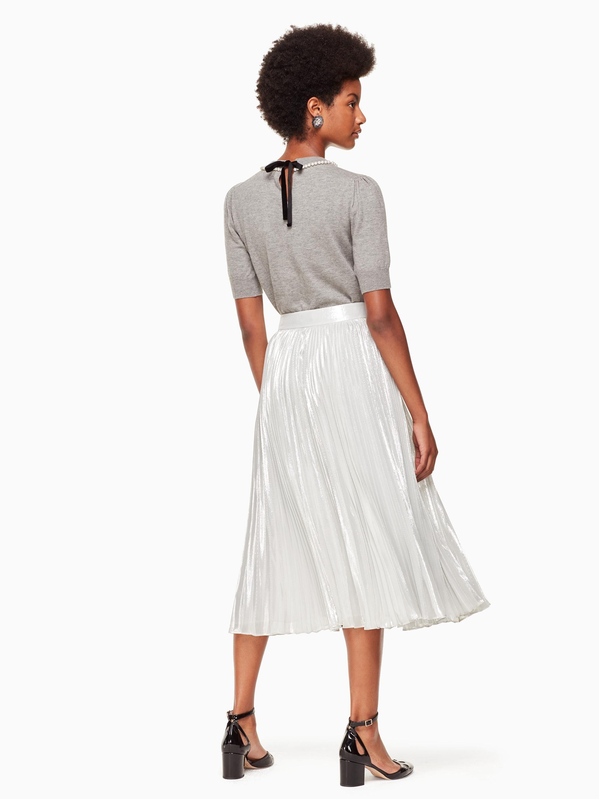 6152cbcb7c76 Kate Spade Silver Metallic Pleated Skirt in Metallic - Lyst