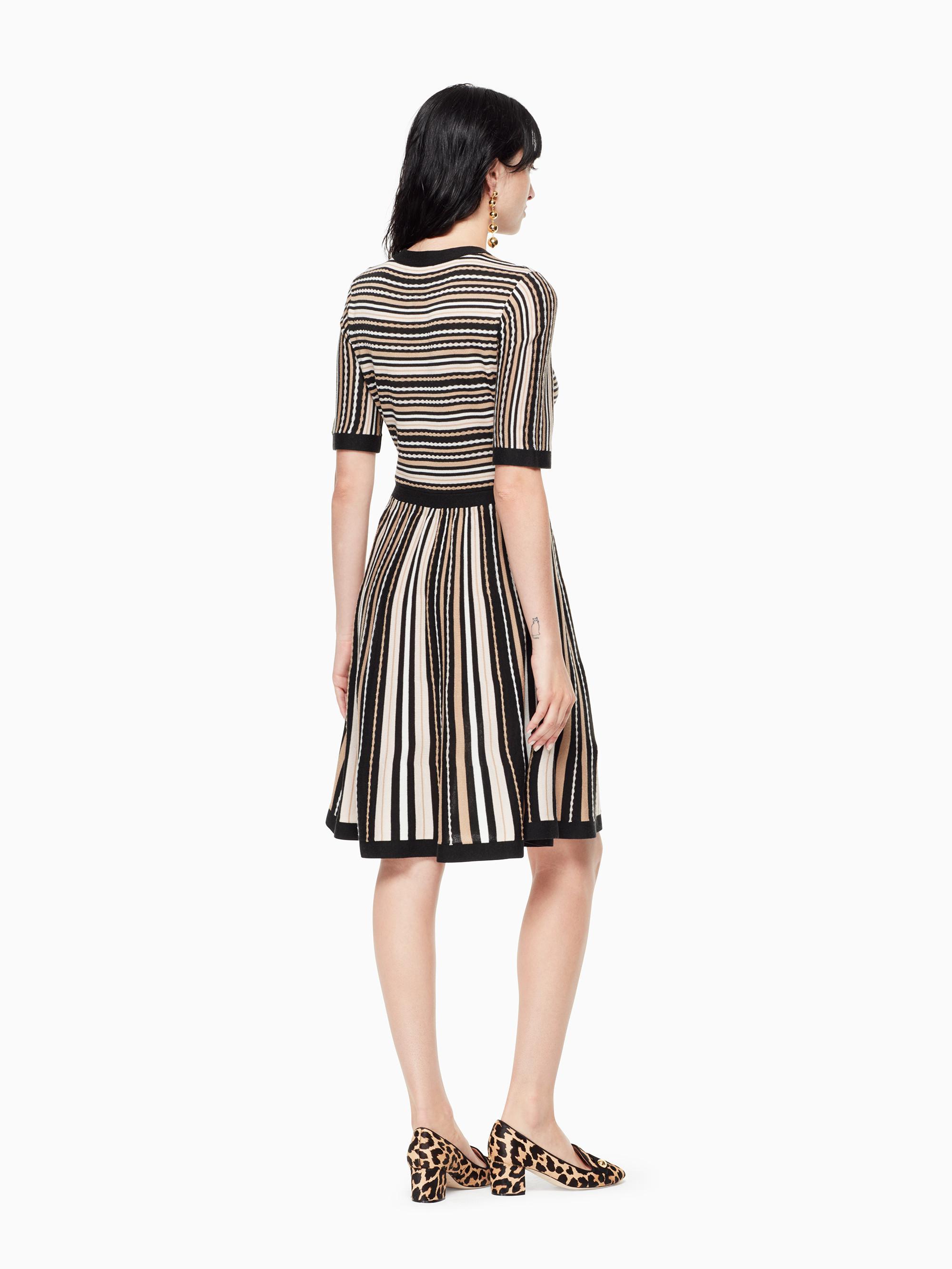 a091b13fe4b Kate Spade Multi Stripe Sweater Dress in Black - Lyst