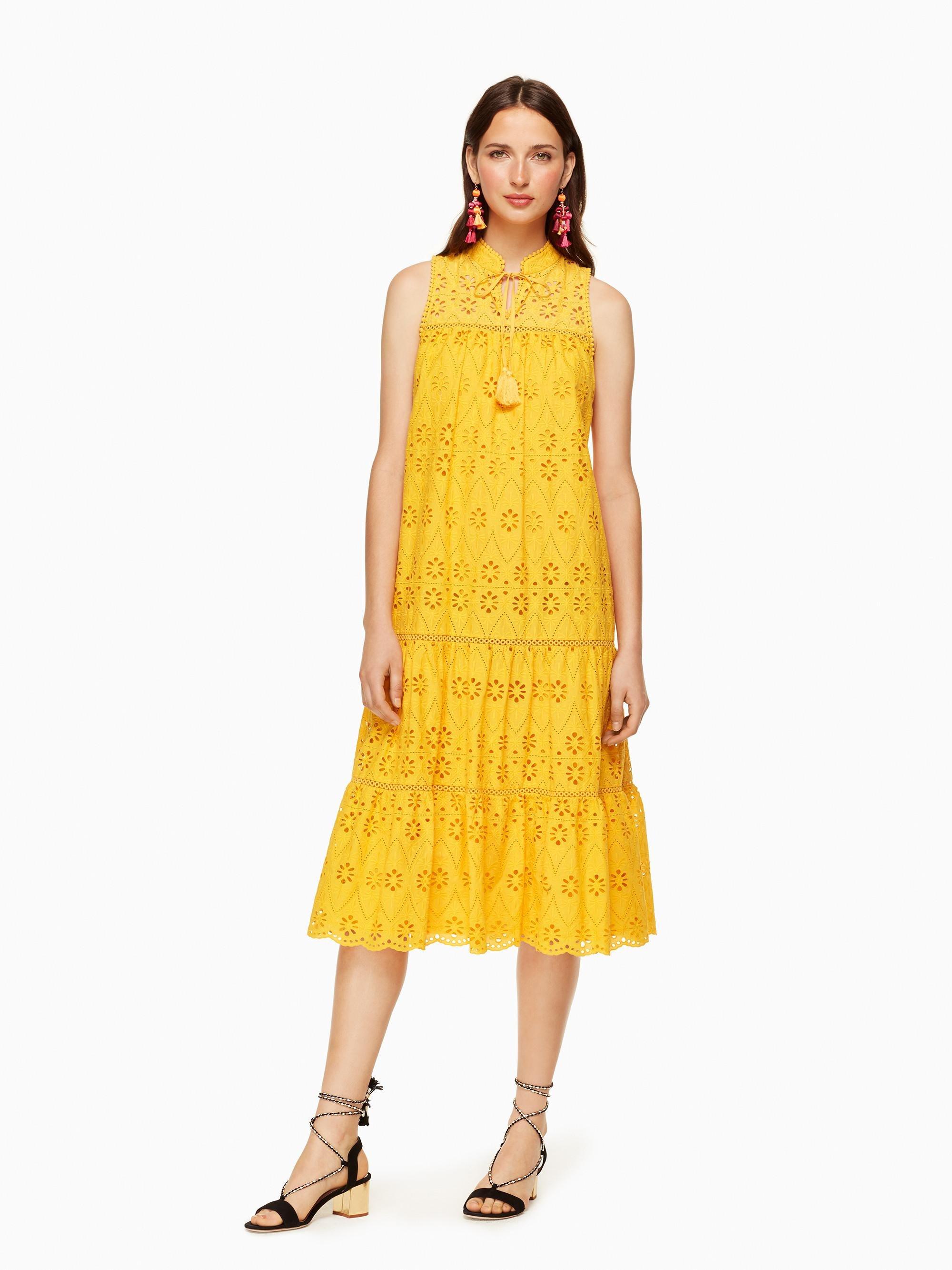 Lyst Kate spade Eyelet Patio Dress in Yellow