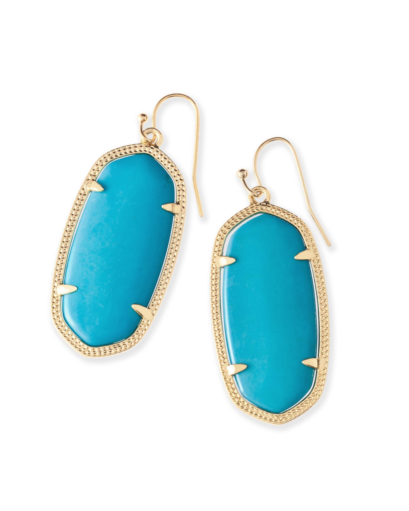Kendra Scott Women S Blue Elle Gold Drop Earrings