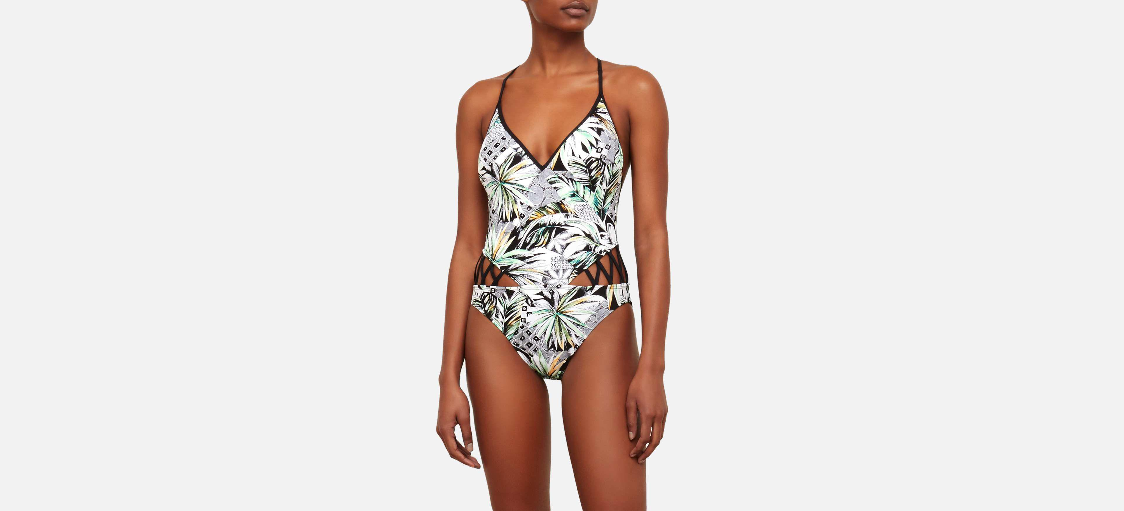 efcb74b8cb Lyst - Kenneth Cole Palm Reading Plunge One-piece in White