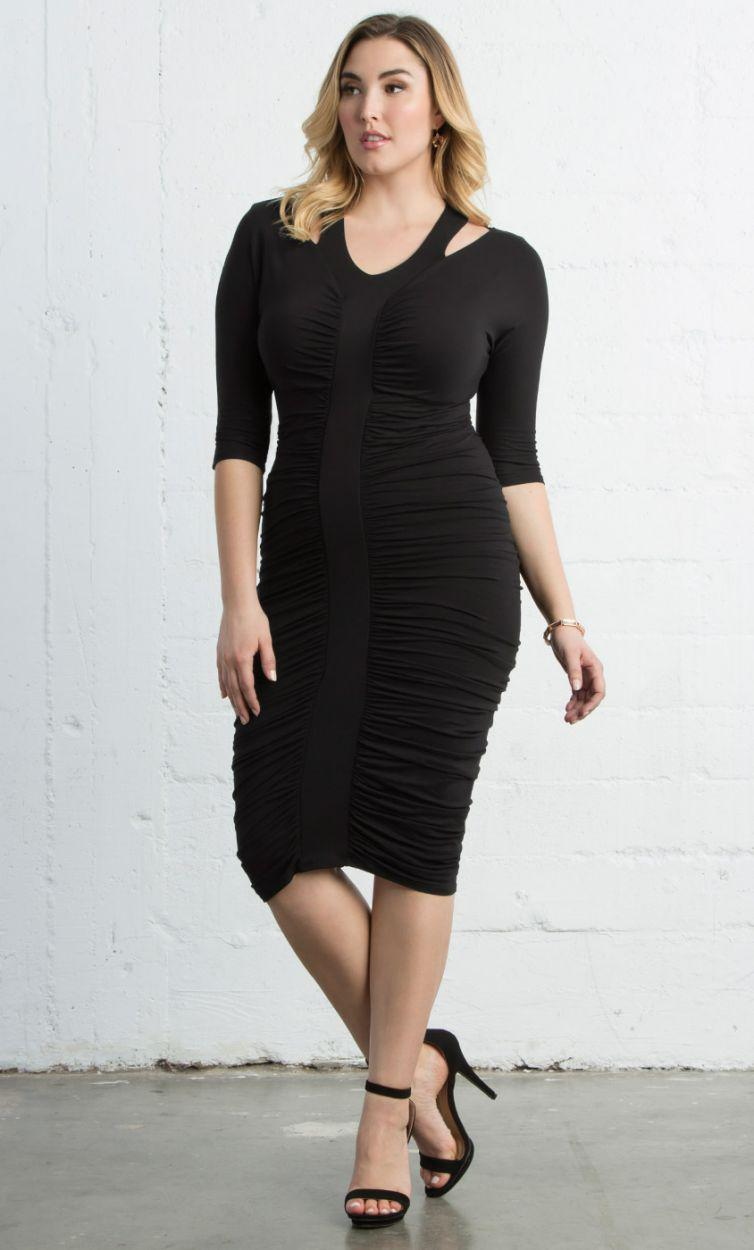 c5c2255ed8b Lyst - Kiyonna Riveting Ruched Dress in Black